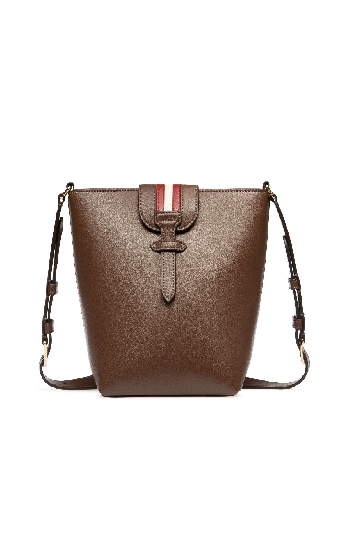 Brown leather bucket bag for woman Bally