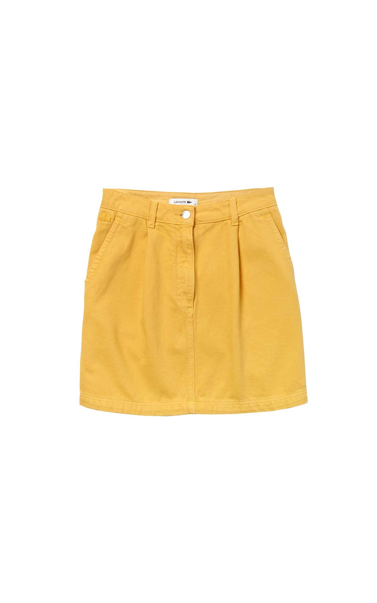 Short yellow denim skirt for woman Lacoste