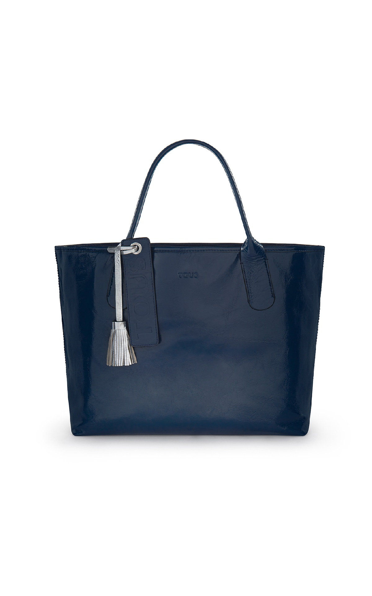 Navy blue leather tote bag Tous