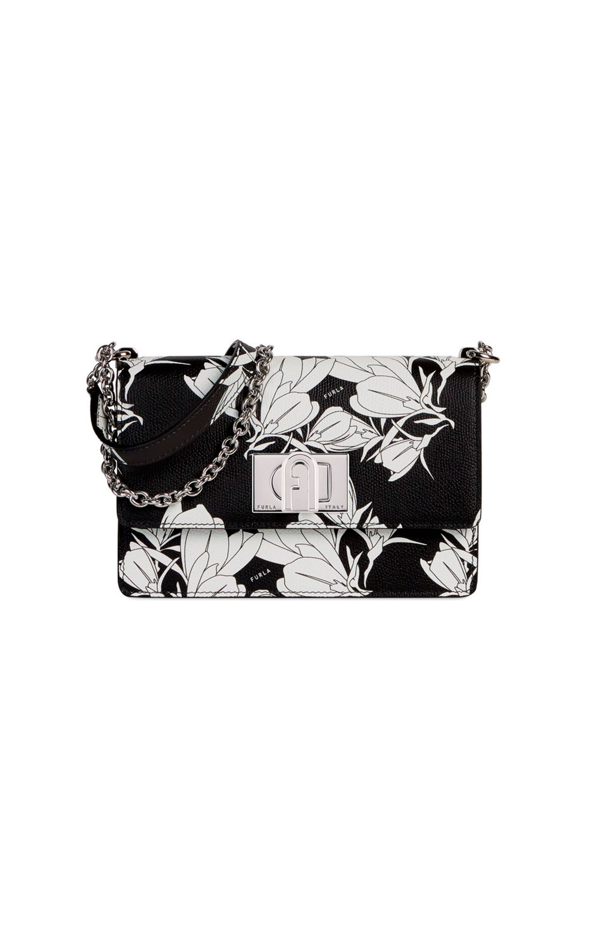 Black bag with flowers Furla