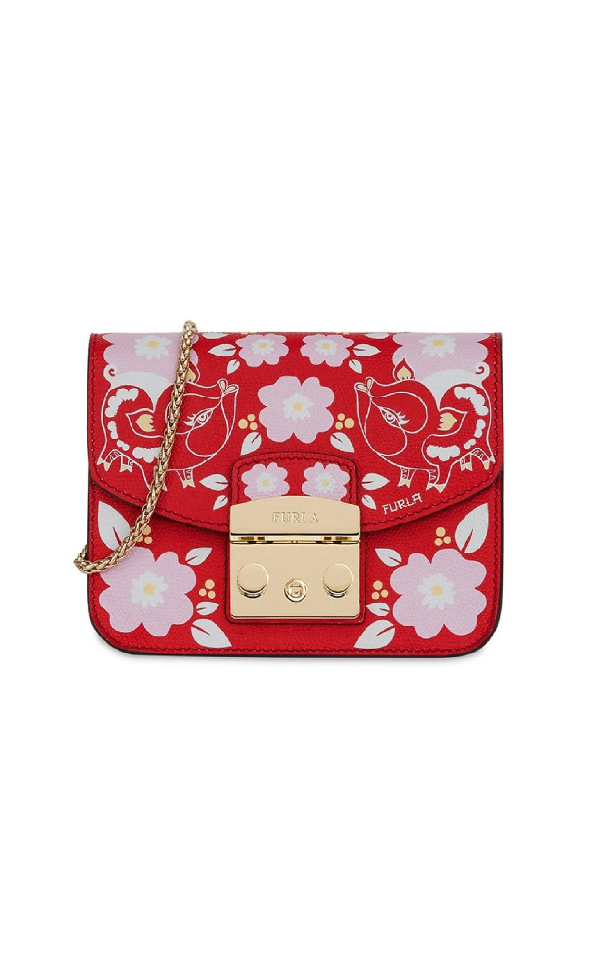 Red Metropolis bag with pink flowers Furla