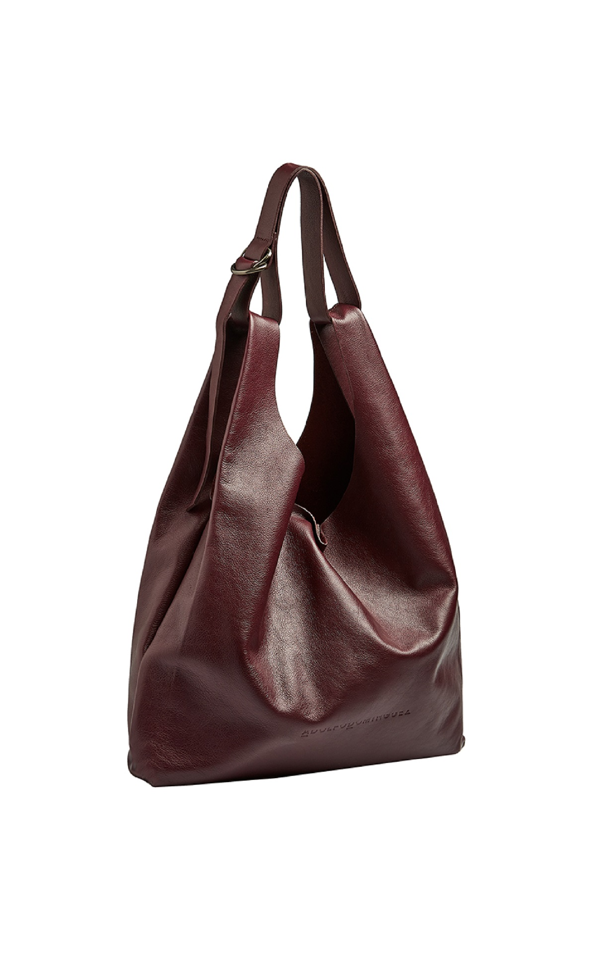 Big burgundy leather bag Adolfo Dominguez