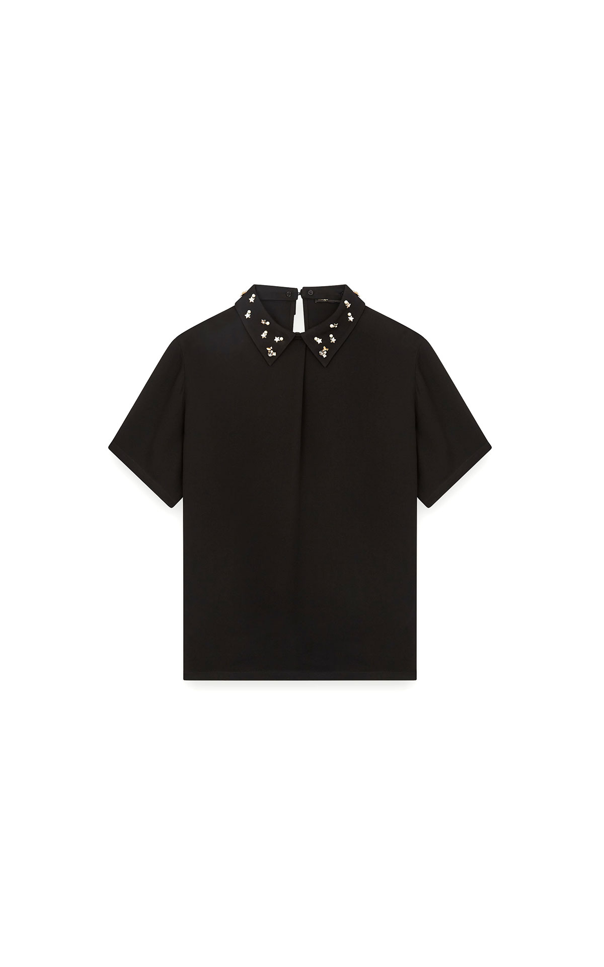 Maje T-shirt top with embroidered collar at The Bicester Village Shopping Collection