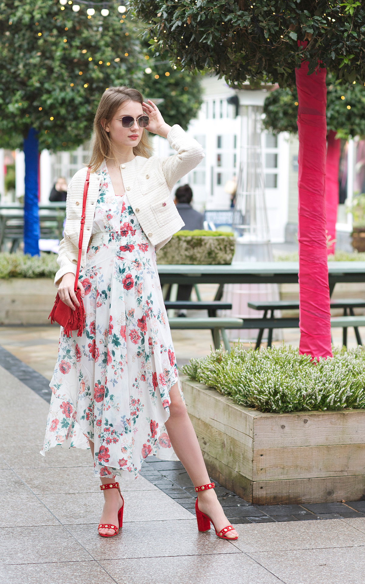 Spring floral dress at Kildare Village