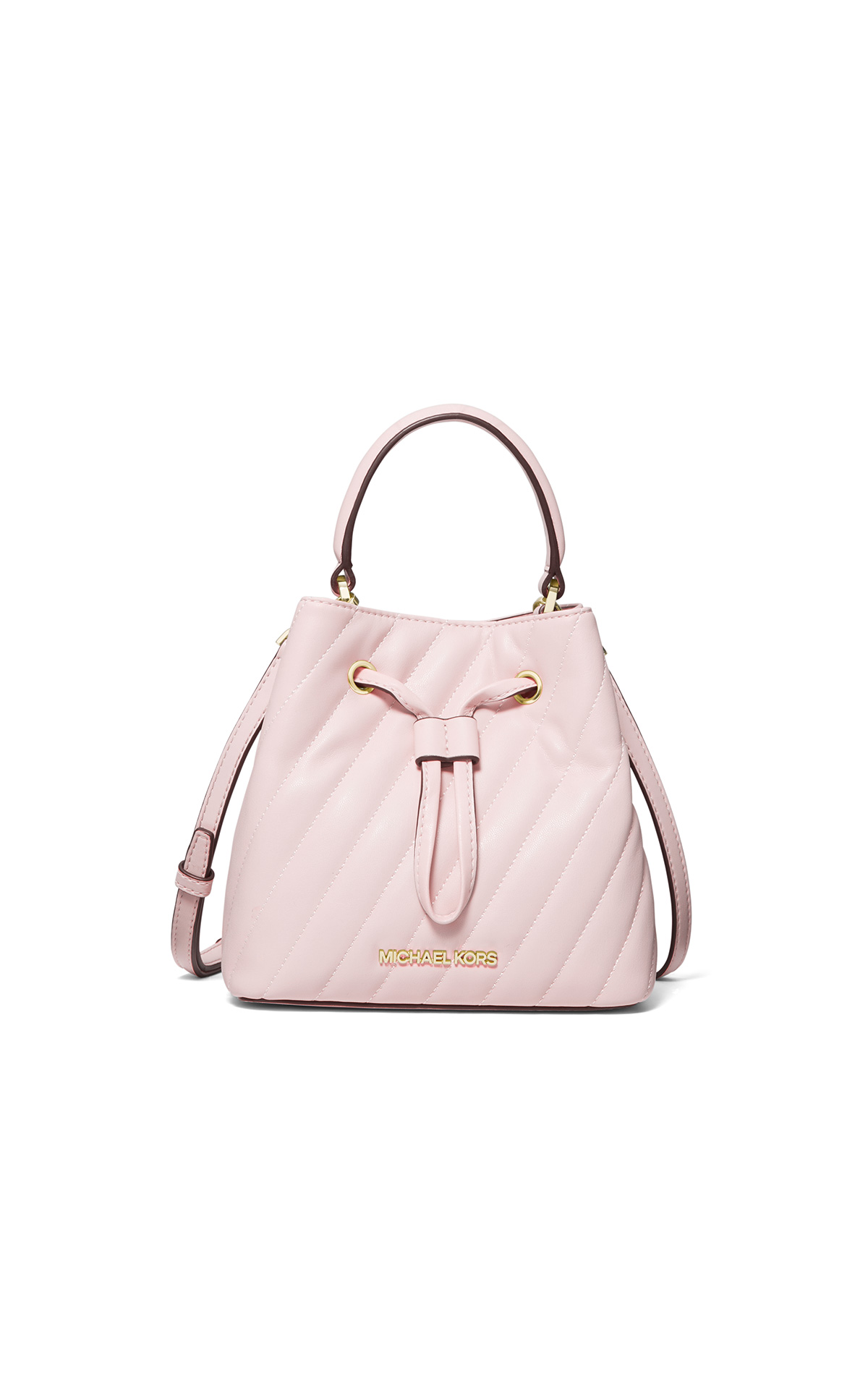 Michael Kors Bucket Messenger in powder blush at The Bicester Village Shopping Collection