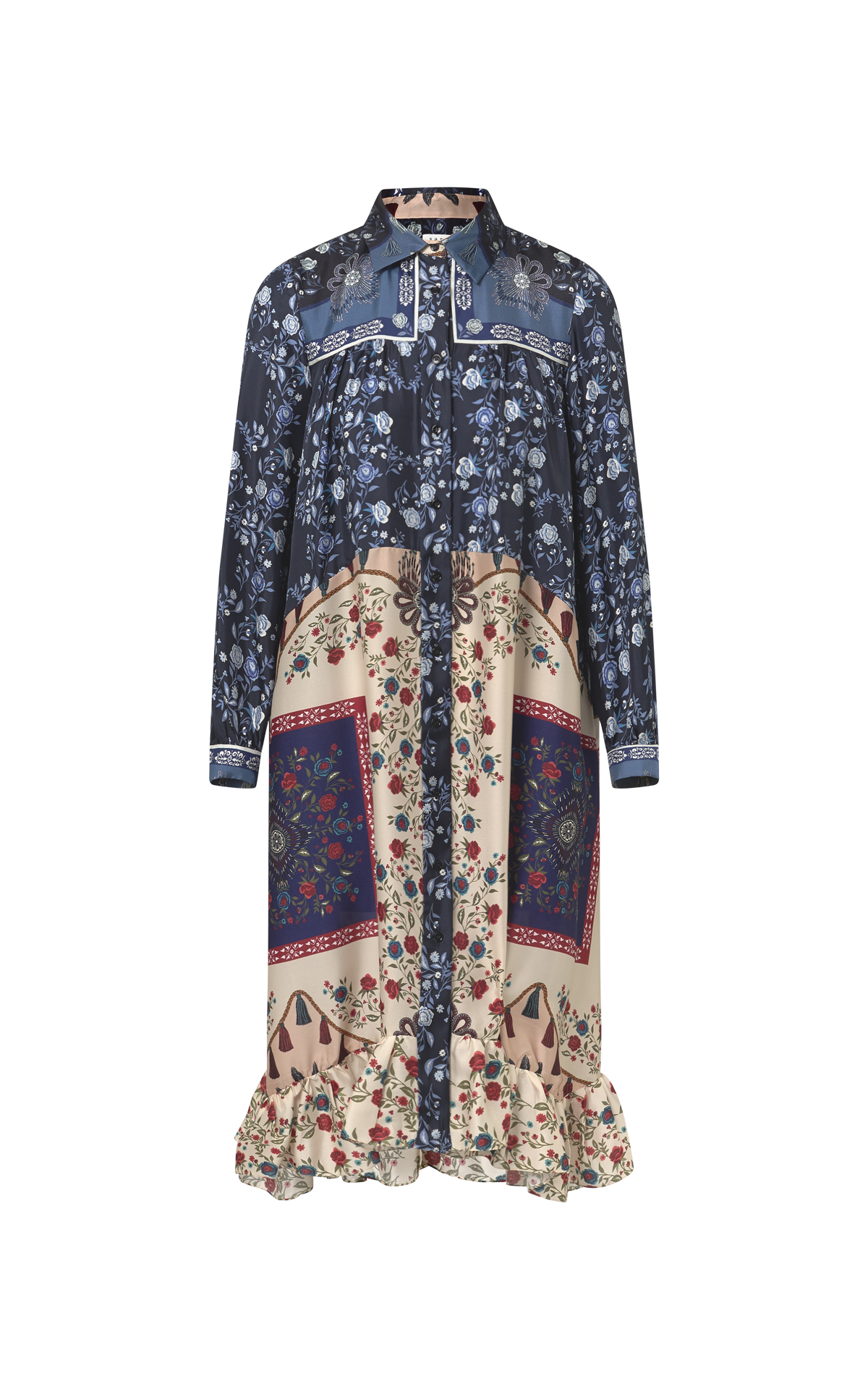 Flowered print blue and beige midi silk dress for woman Sandro