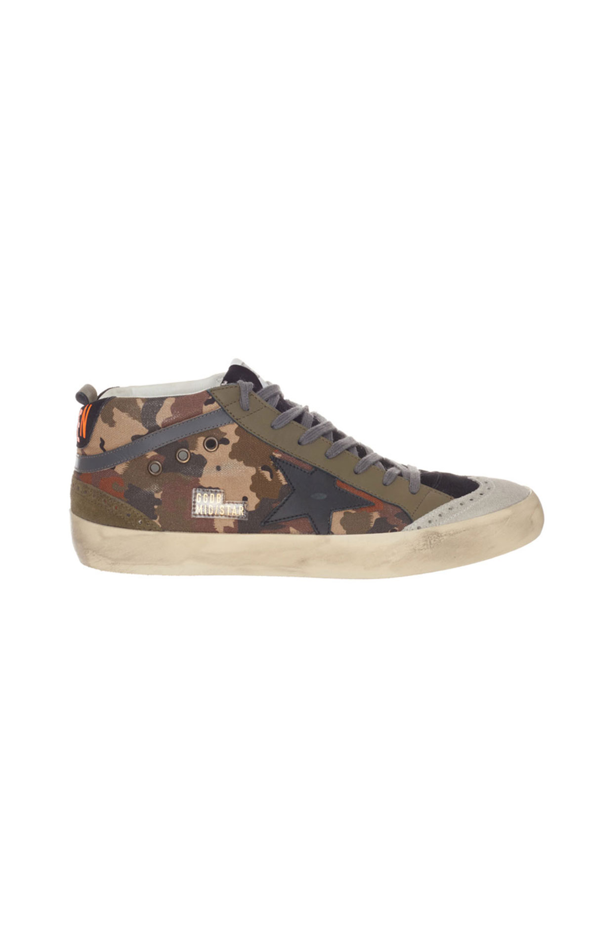 Golden Goose Camouflage canvas black star trainer from Bicester Village