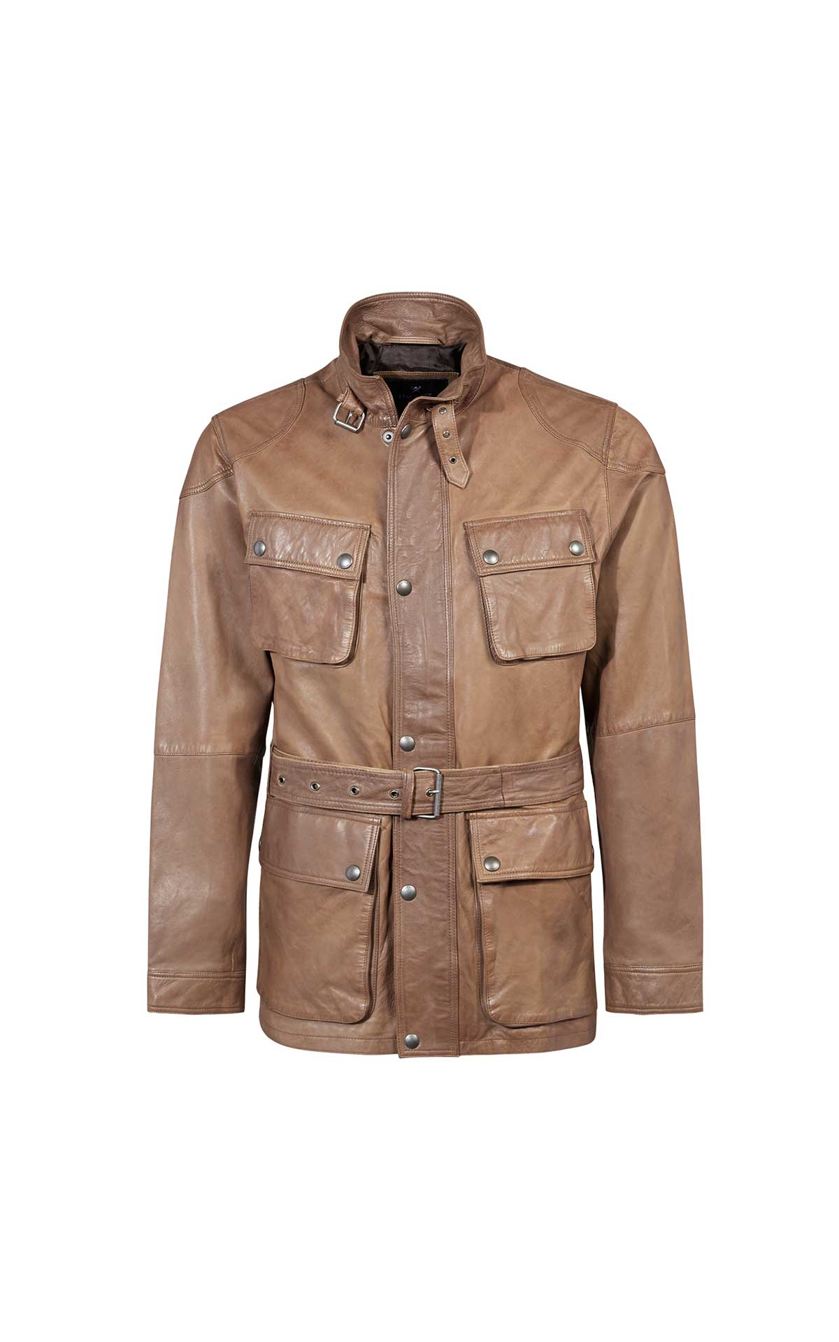 Camel leather jacket for men from Hackett