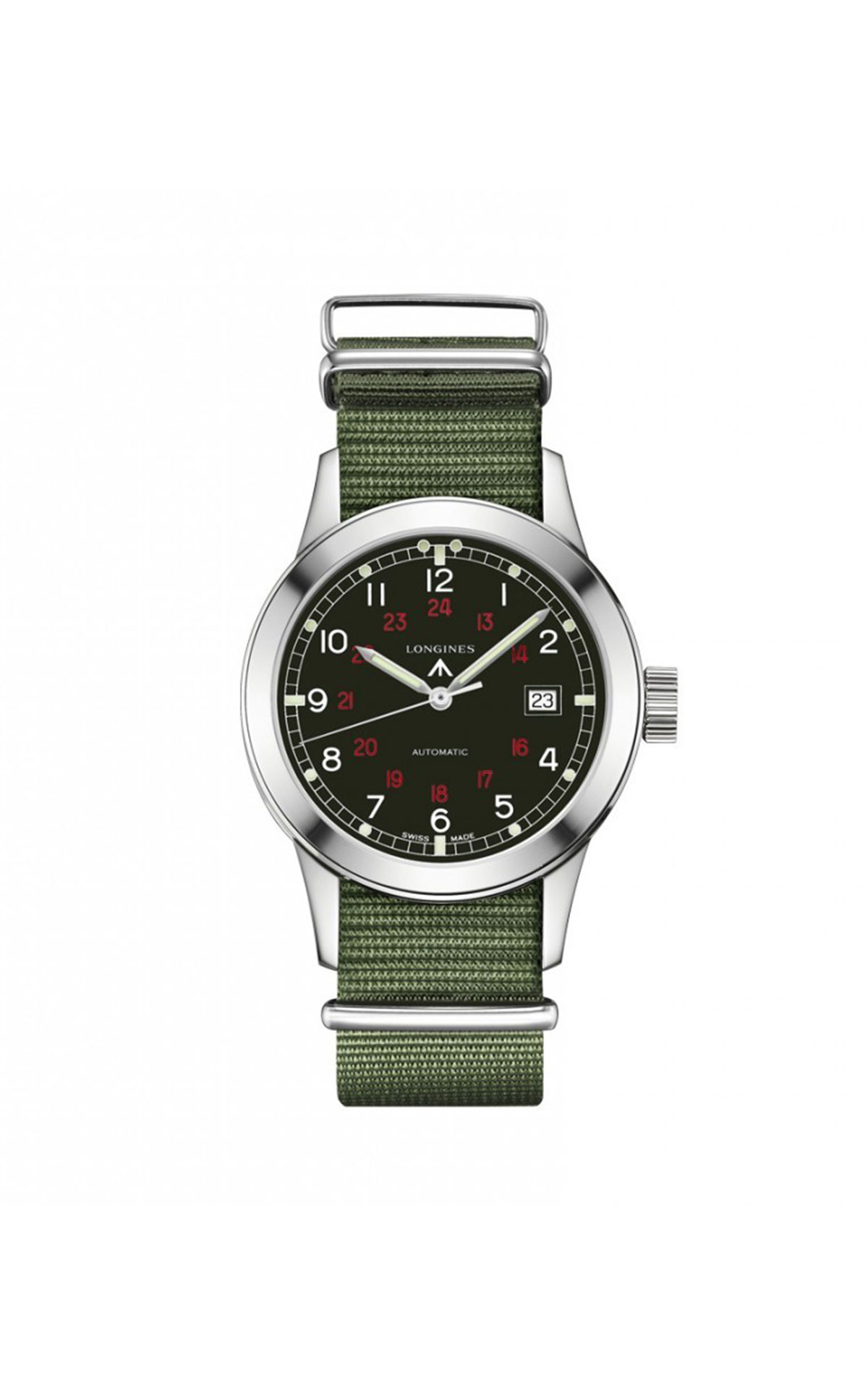 Hour Passion Longines green fabric strap watch from Bicester Village