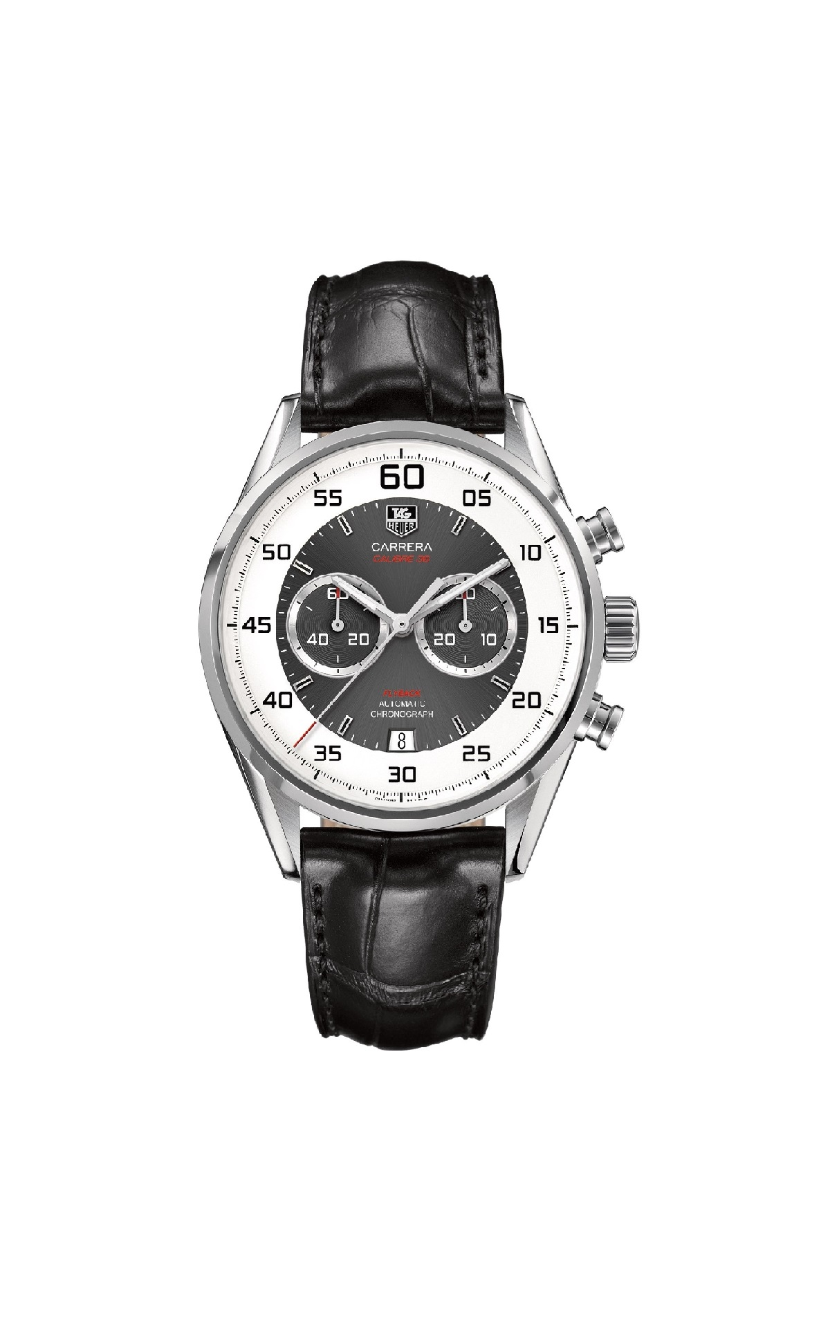 CARRERA 43mm AUTOMATIC CHRONOGRAPH, CALIBER 36 WHITE AND GREY COMBINATION ON DIAL