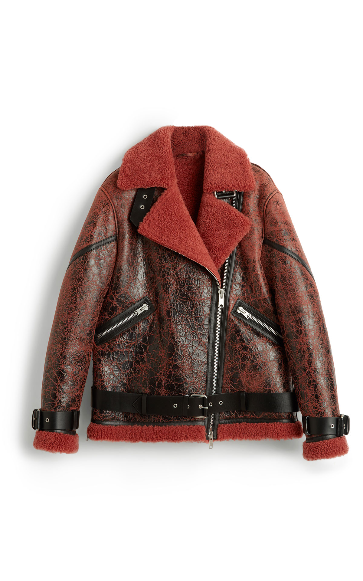 AllSaints Hawley shearling raspberry pink from Bicester Village