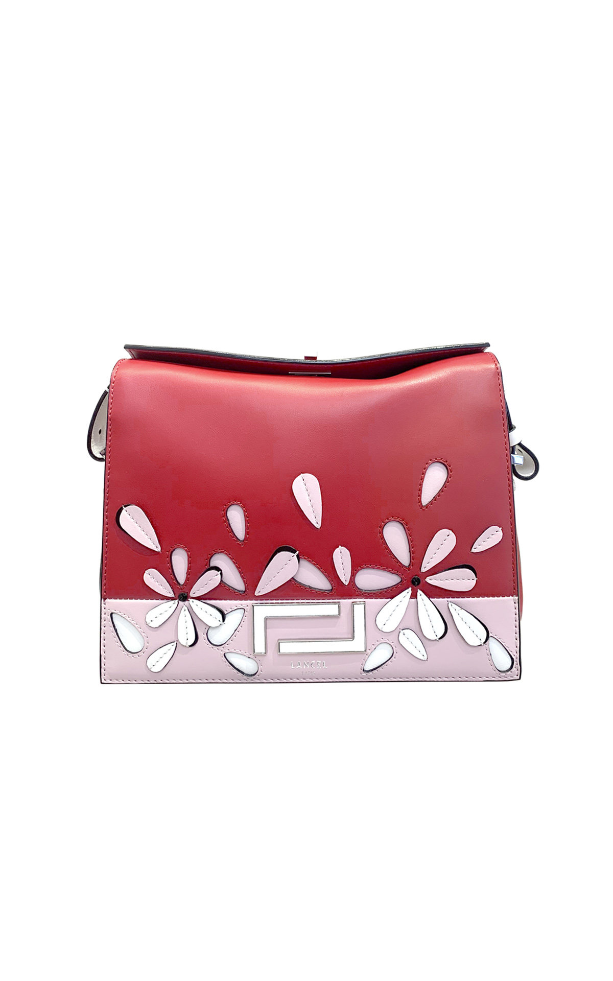 Red and pink leather bag with flowers Lancel