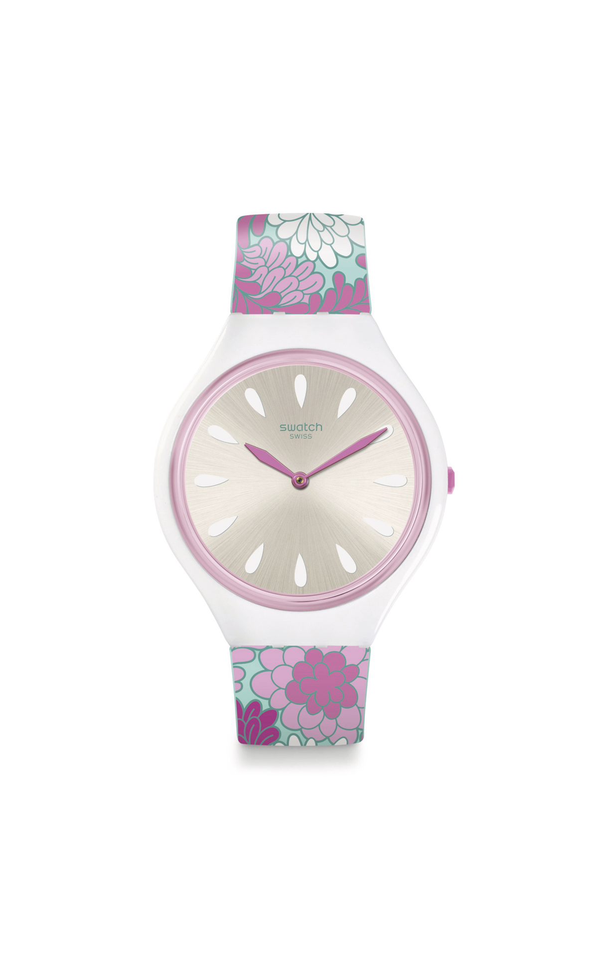 White and pink watch with flowers Swatch