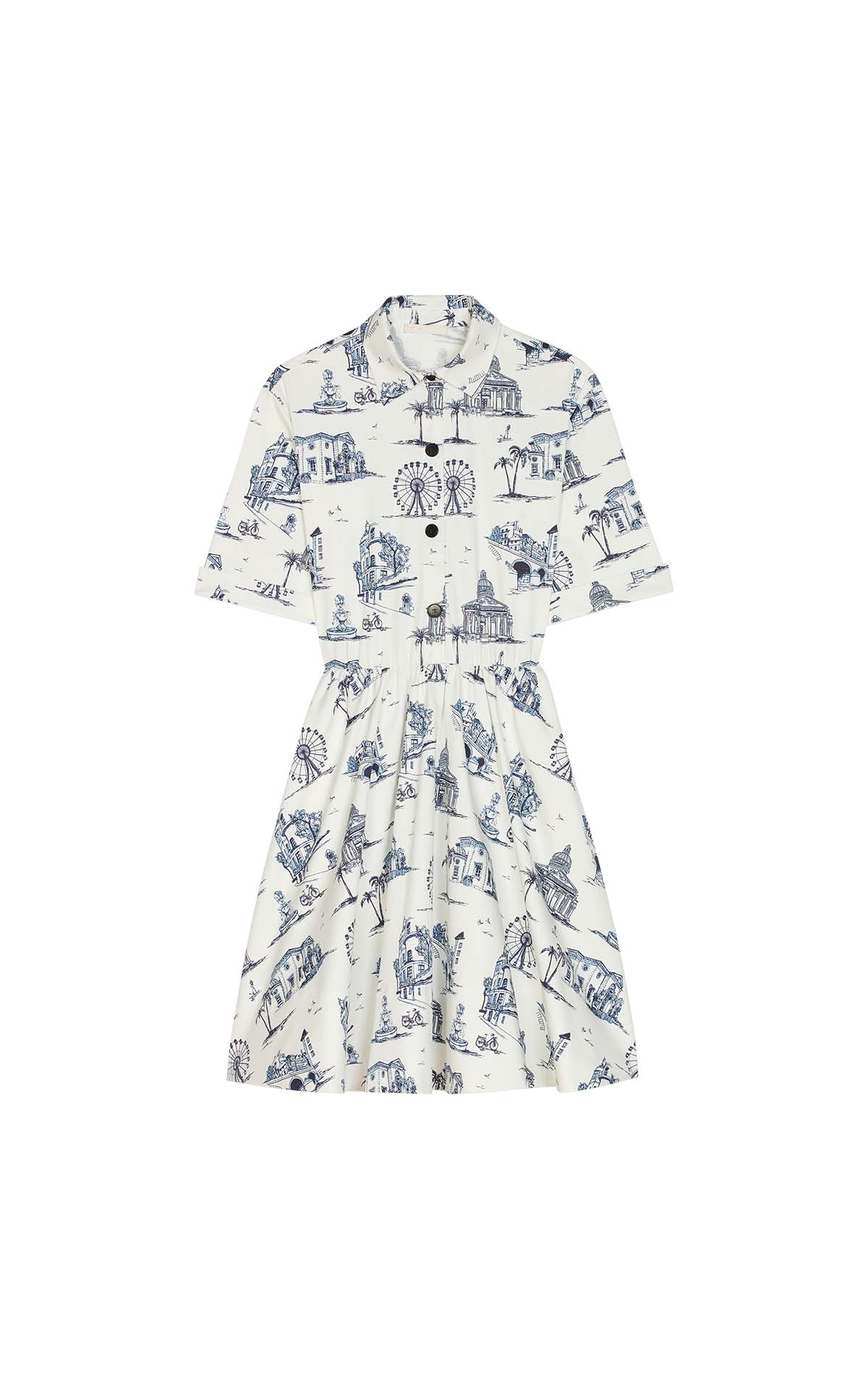 Short white and blue Paris print dress for woman Maje