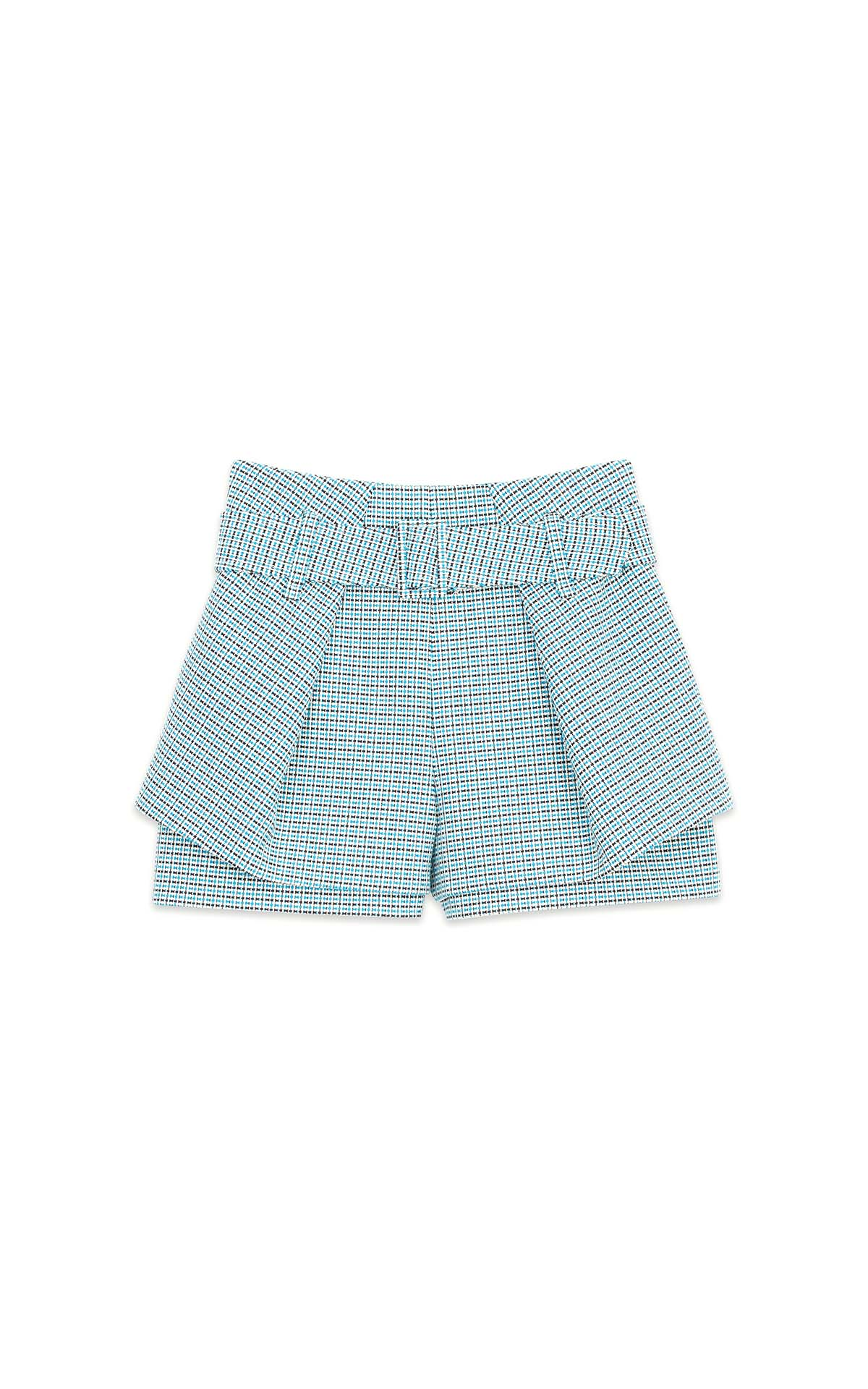 Blue and white checked tweed-style shorts for woman Maje