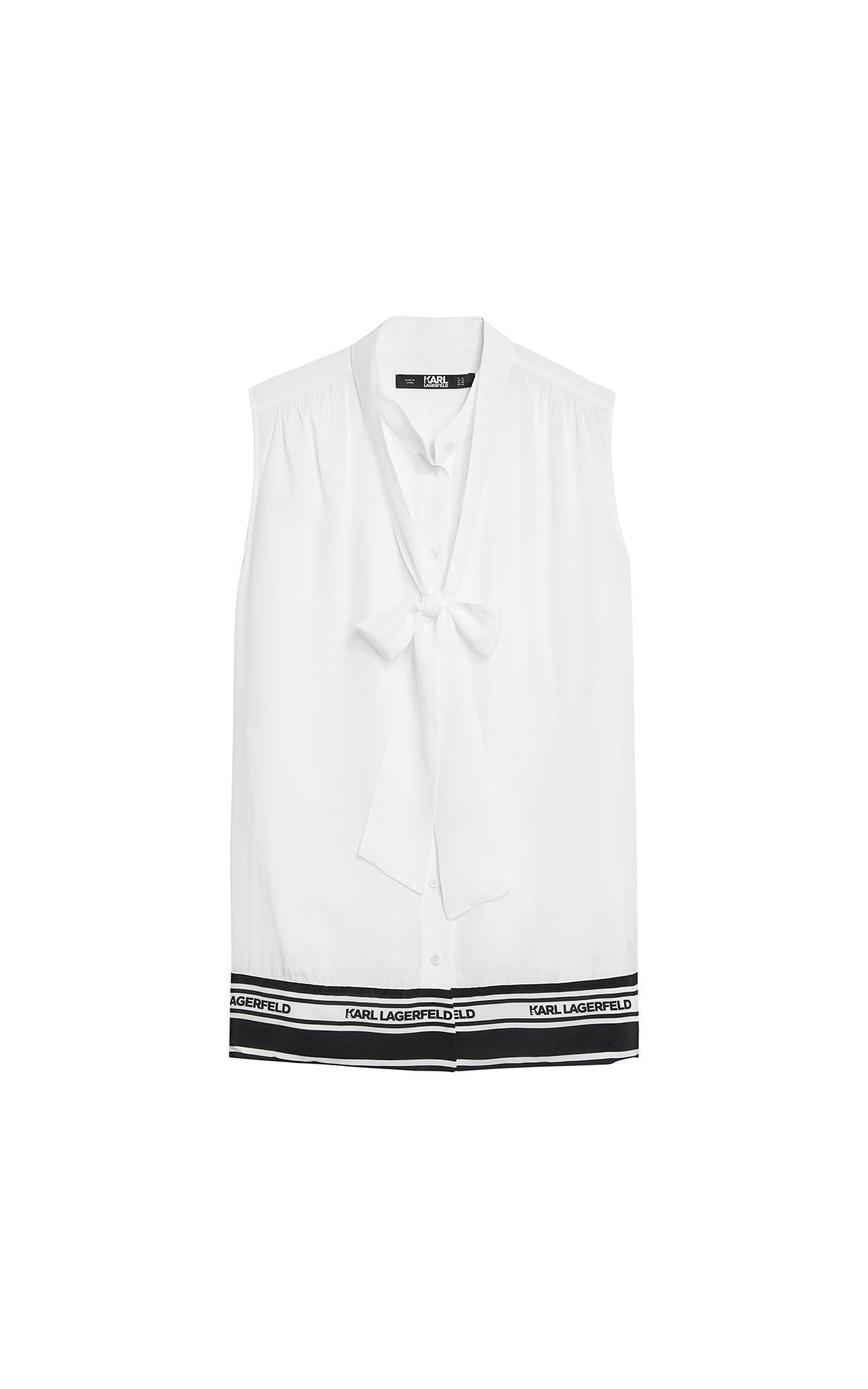 KARL LAGERFELD Karlifornia logo blouse in white at The BIcester Village Shopping Collection