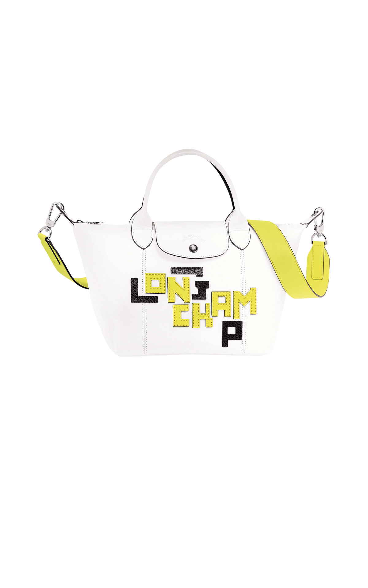 White and yellow leather bag Longchamp