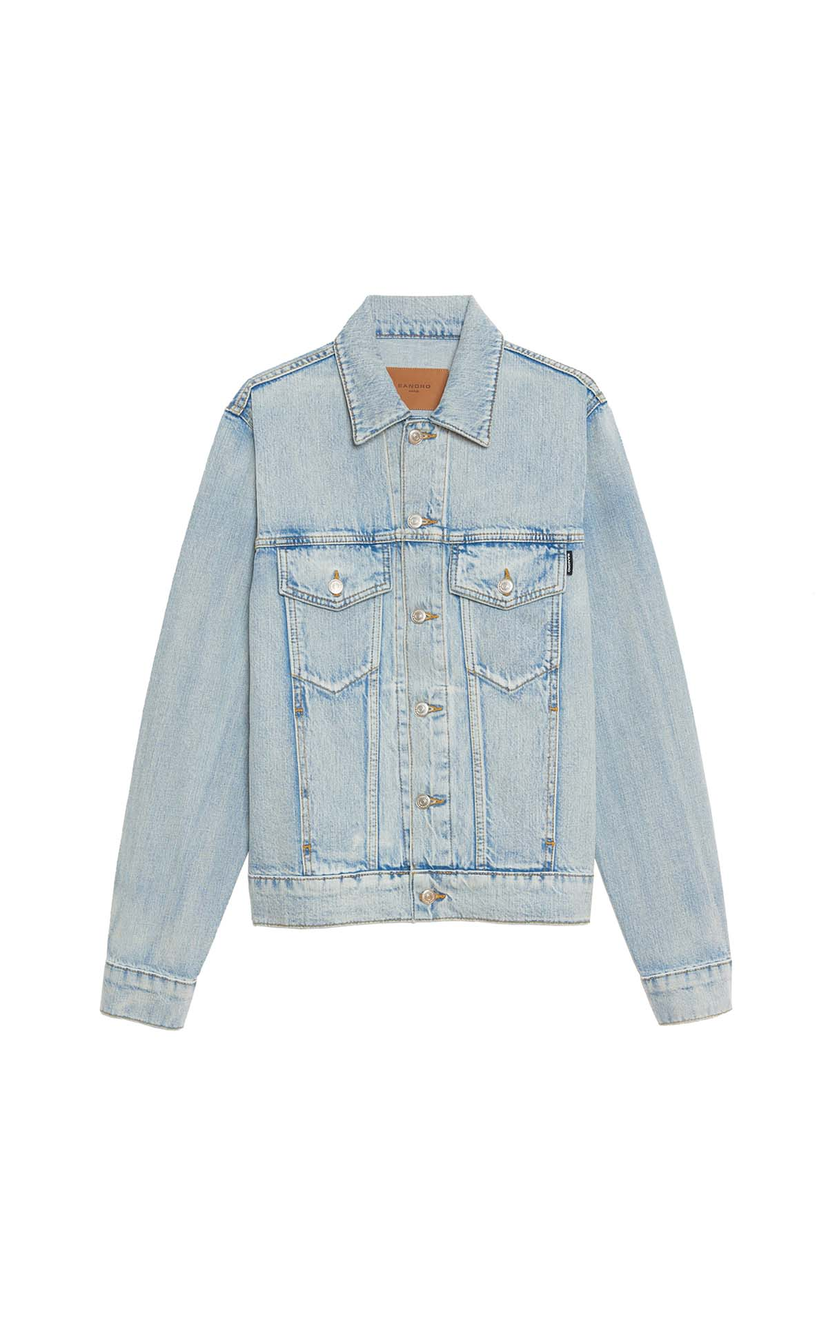 Sandro Stone washed denim jacket at The Bicester Village Shopping Collection