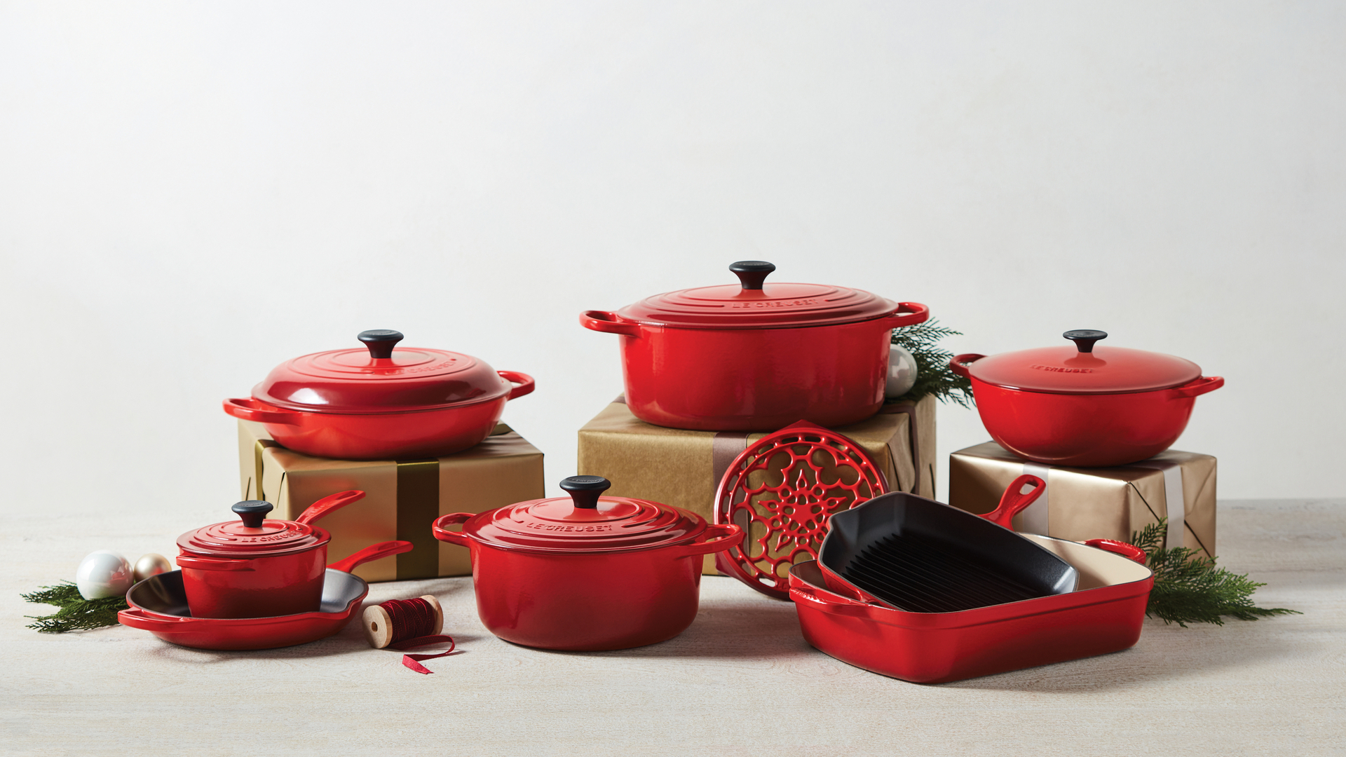Le Creuset red cocottes