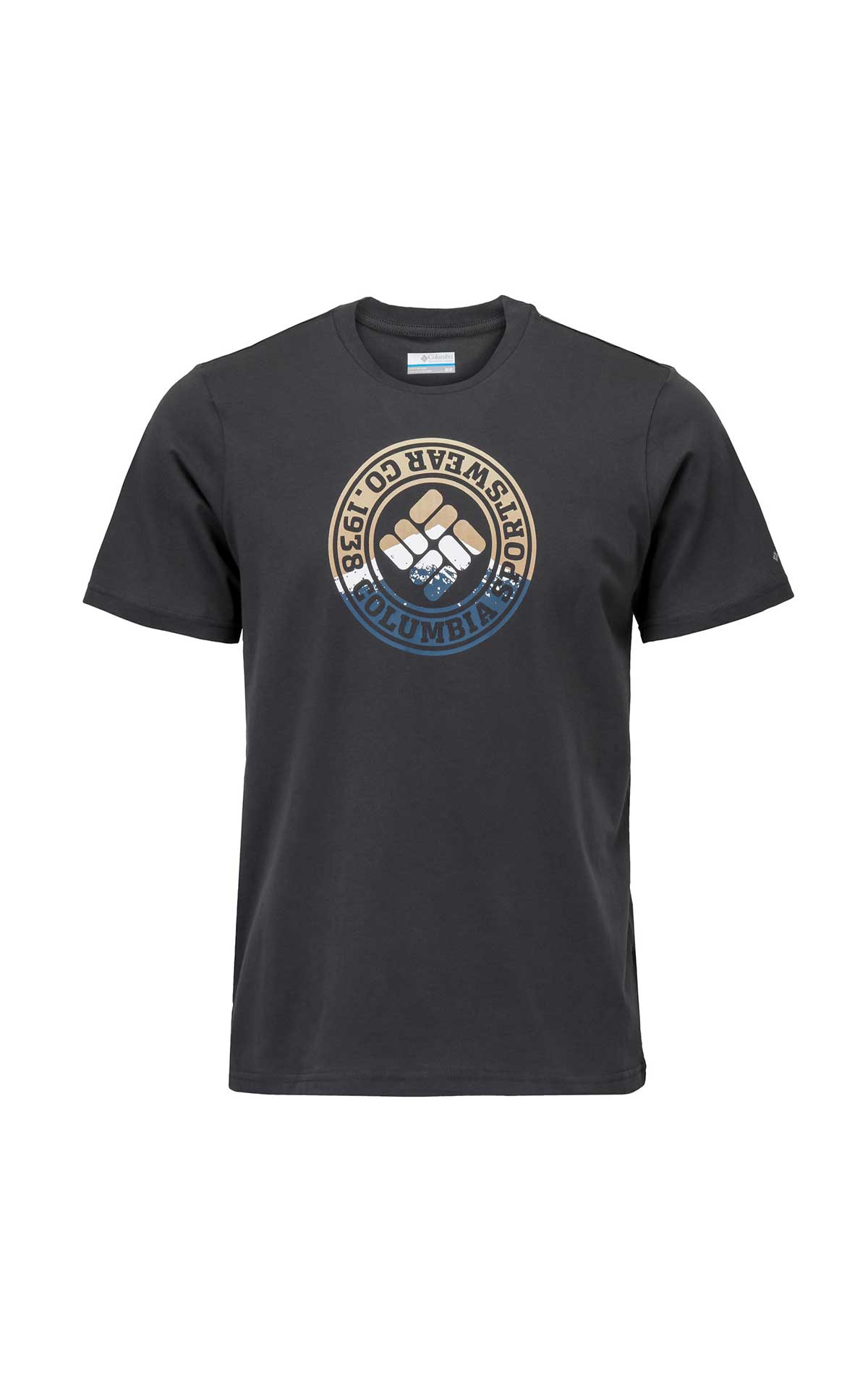 Black T-shirt with Columbia logo for man