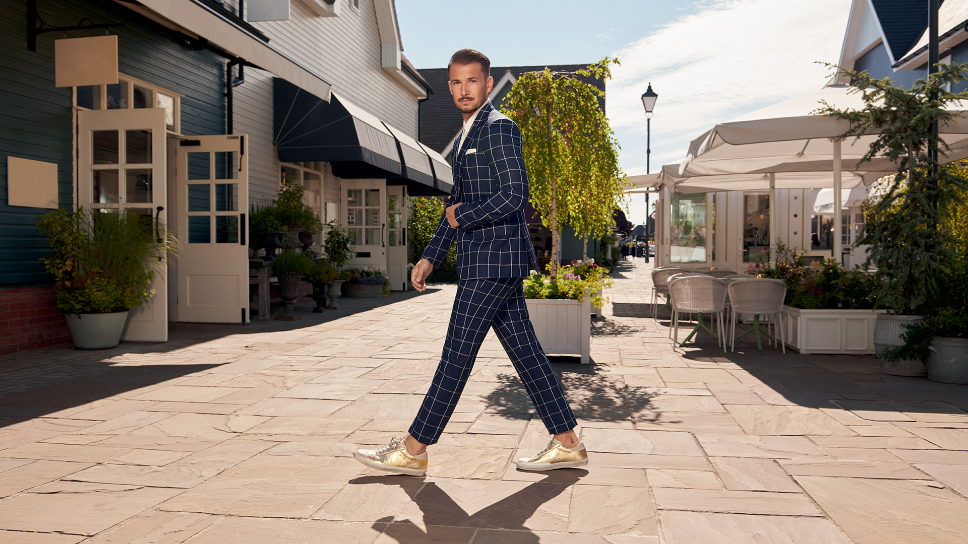 Sandro Rasa on set for The Bicester Village Shopping Collection