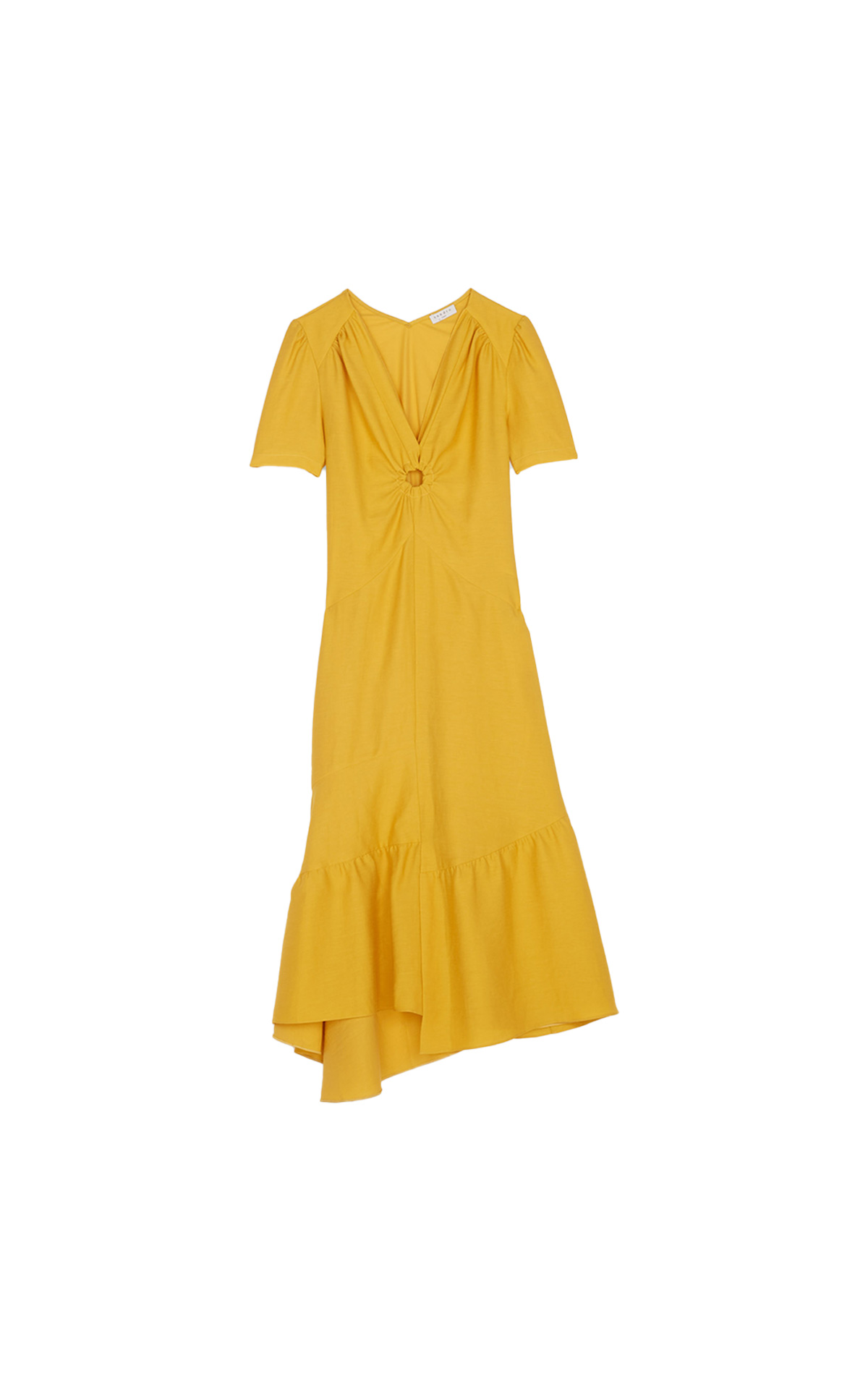 Sandro Long short-sleeved dress with a V neckline decorated with a ring and pintucking. The neckline can be worn to the front or back. Seen at The Bicester Village Shopping Collection