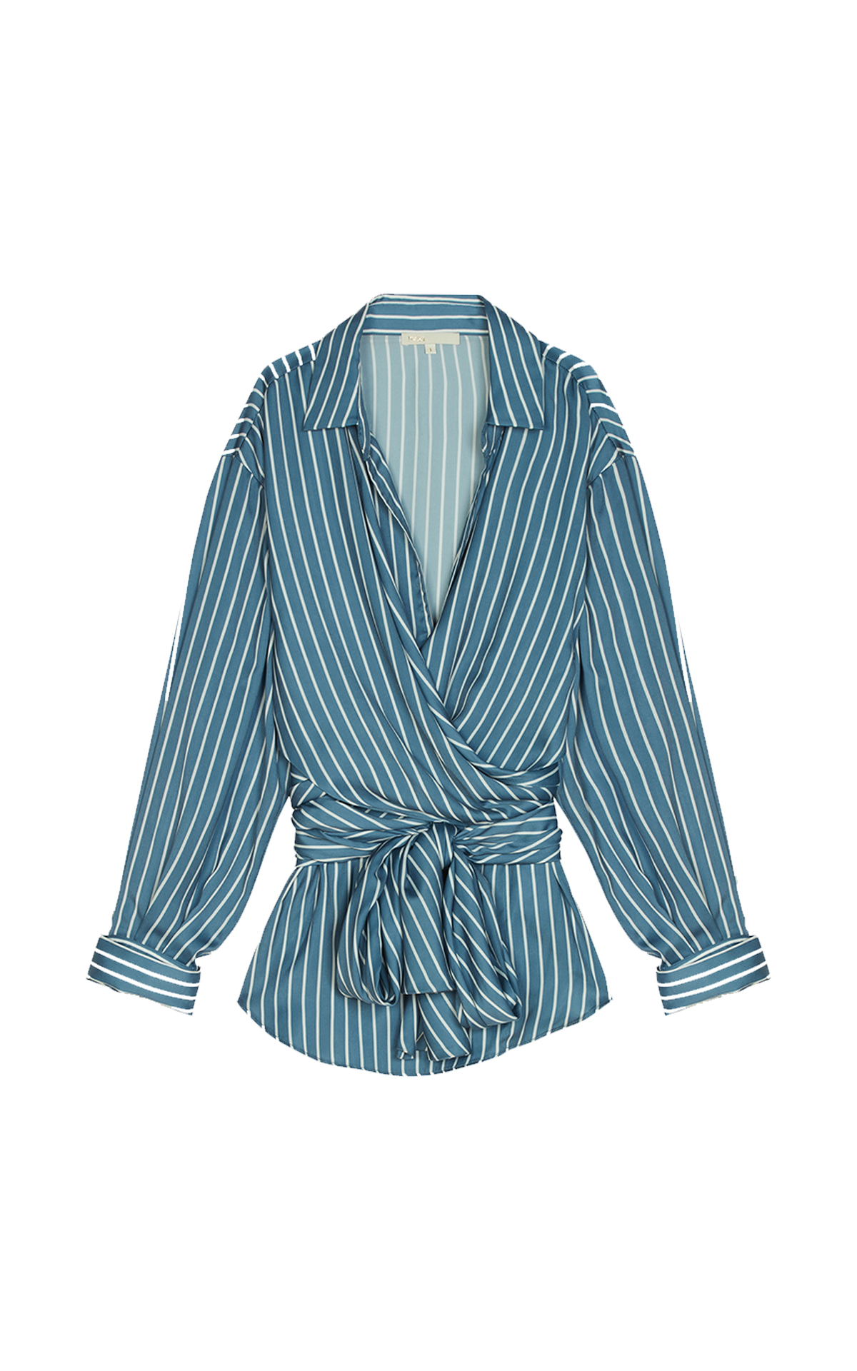 Maje Wrap blouse with stripes at The Bicester Village Shopping Collection