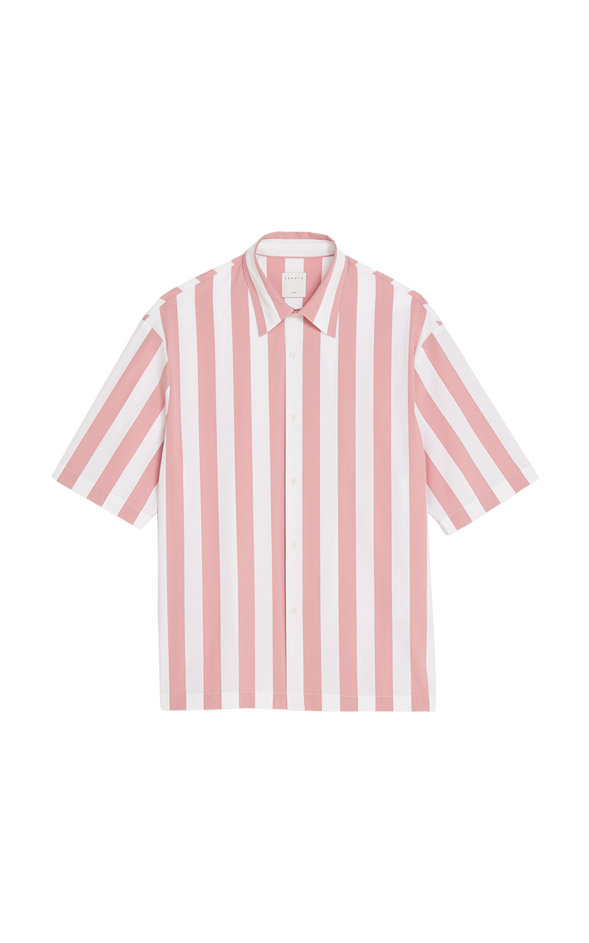 Pink and white striped shirt for man Sandro