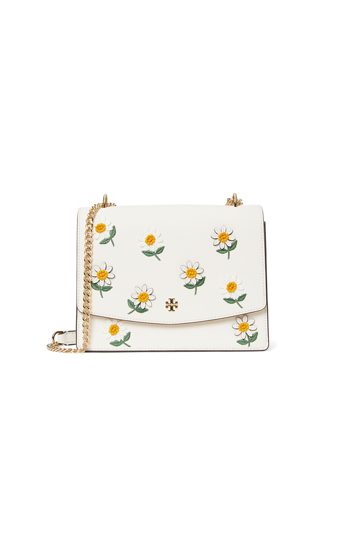 Tory Burch Emerson Daisy Applique Flap Adjustable Shoulder Bag at The Bicester Village Shopping Collection