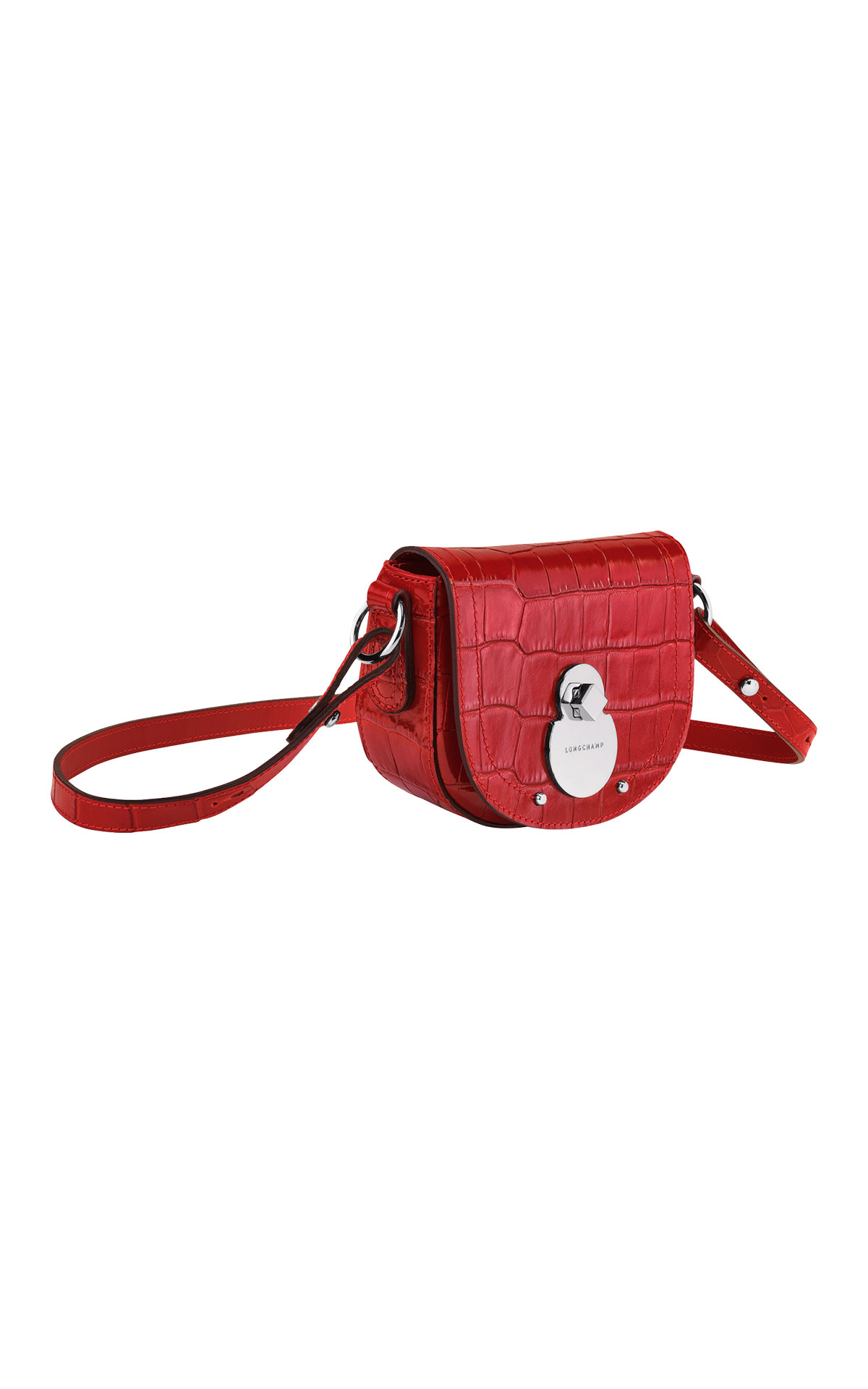 Red croco Cavalcade bag Longchamp