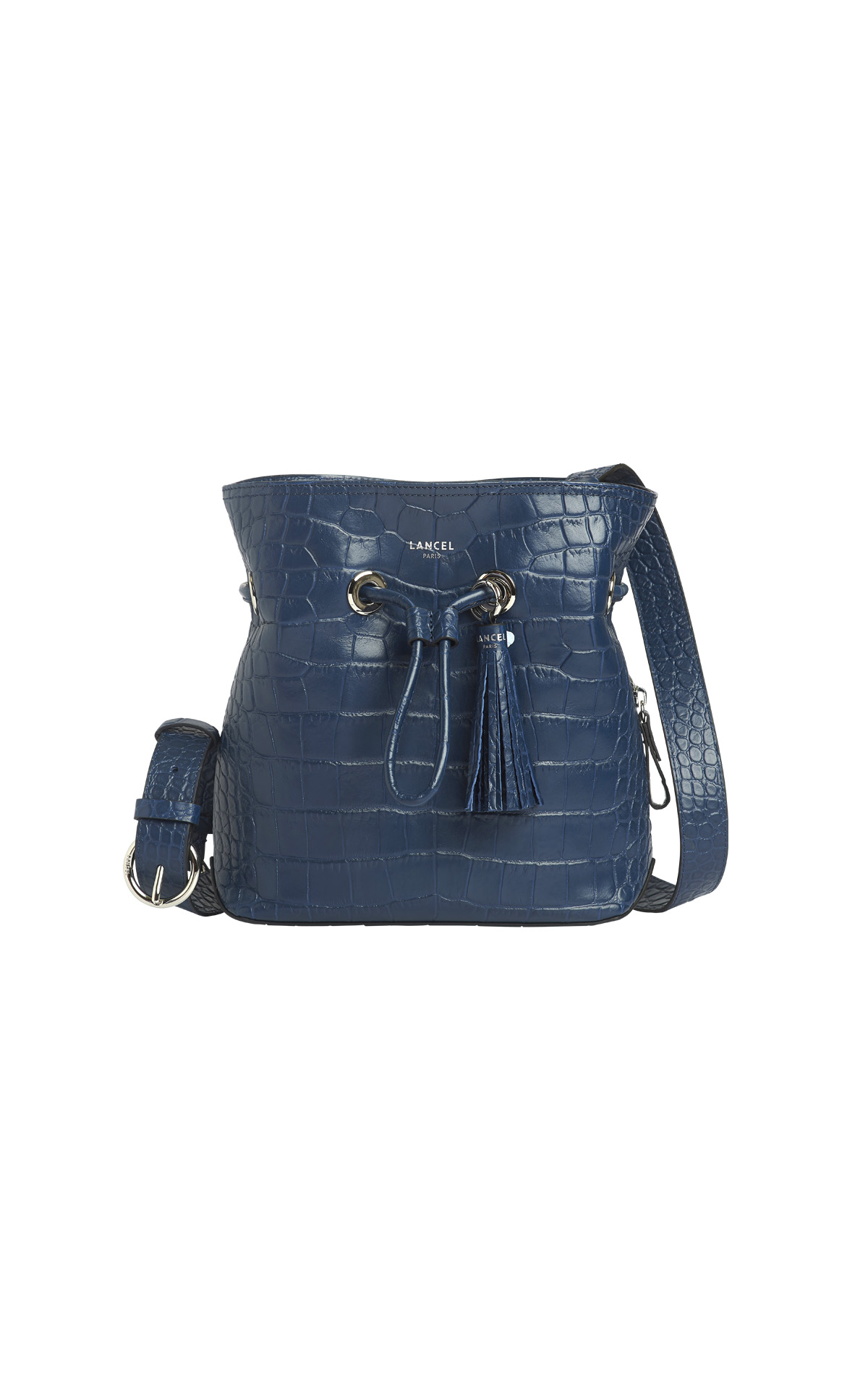 Blue croco bucket bag Lancel