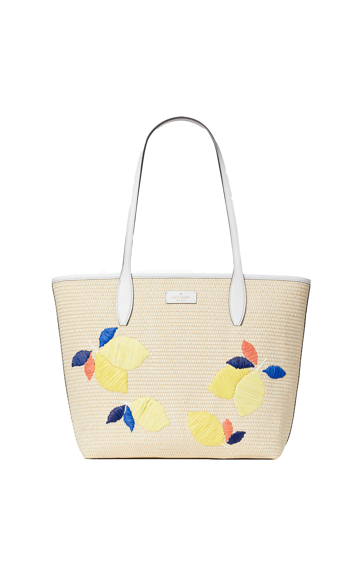 kate spade new york Ash straw lemon zest large triple compartment tote from Bicester Village