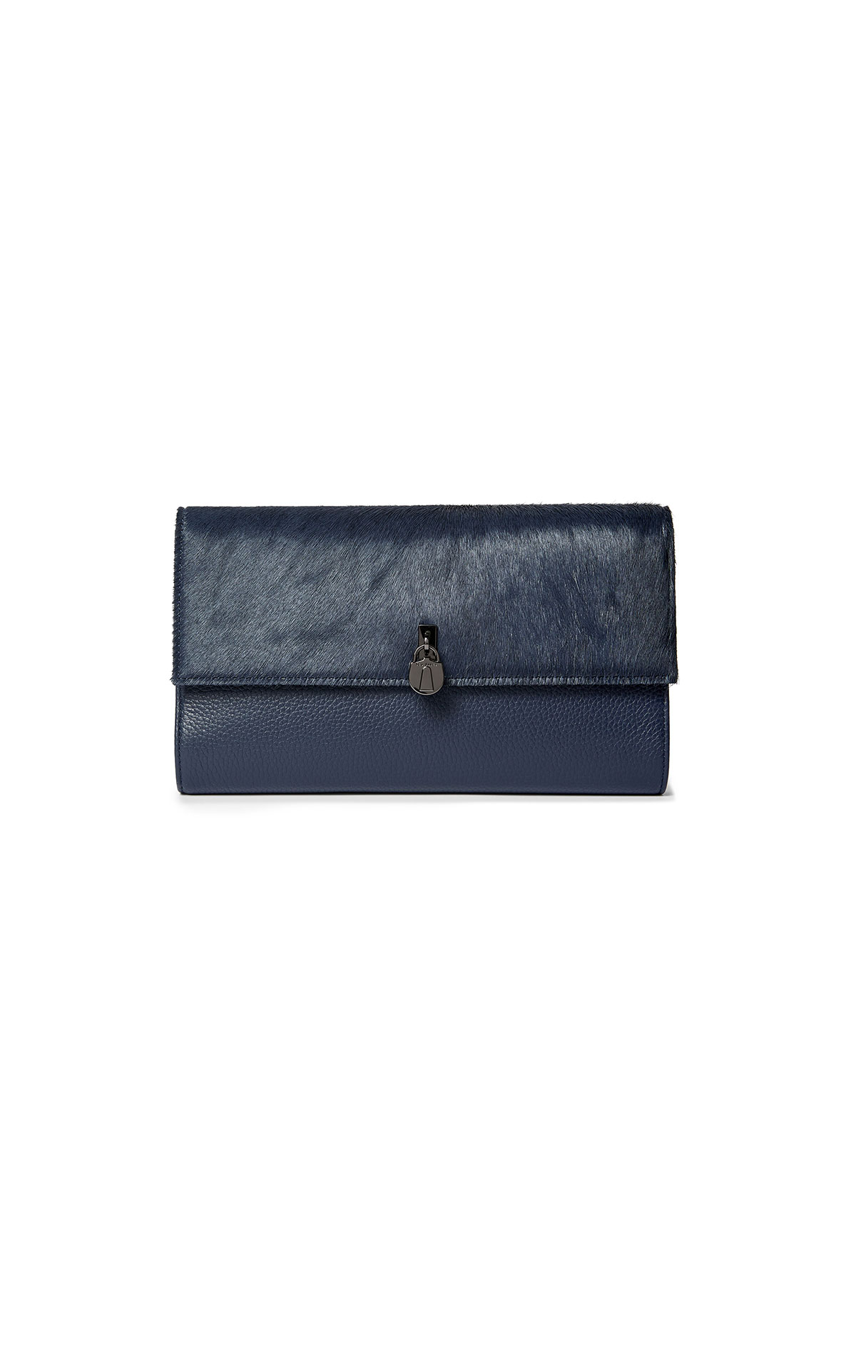 Ted Baker's dark blue padlock travel wallet at The Bicester Village Shopping Collection