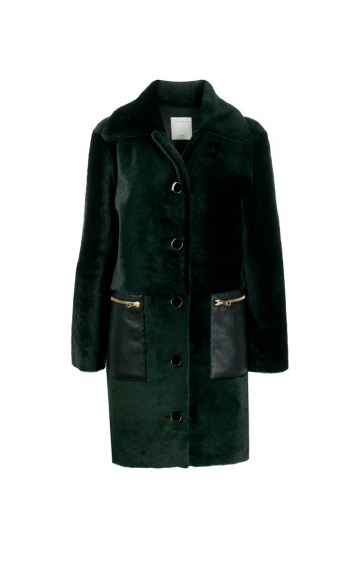Green coat with fur Sandro