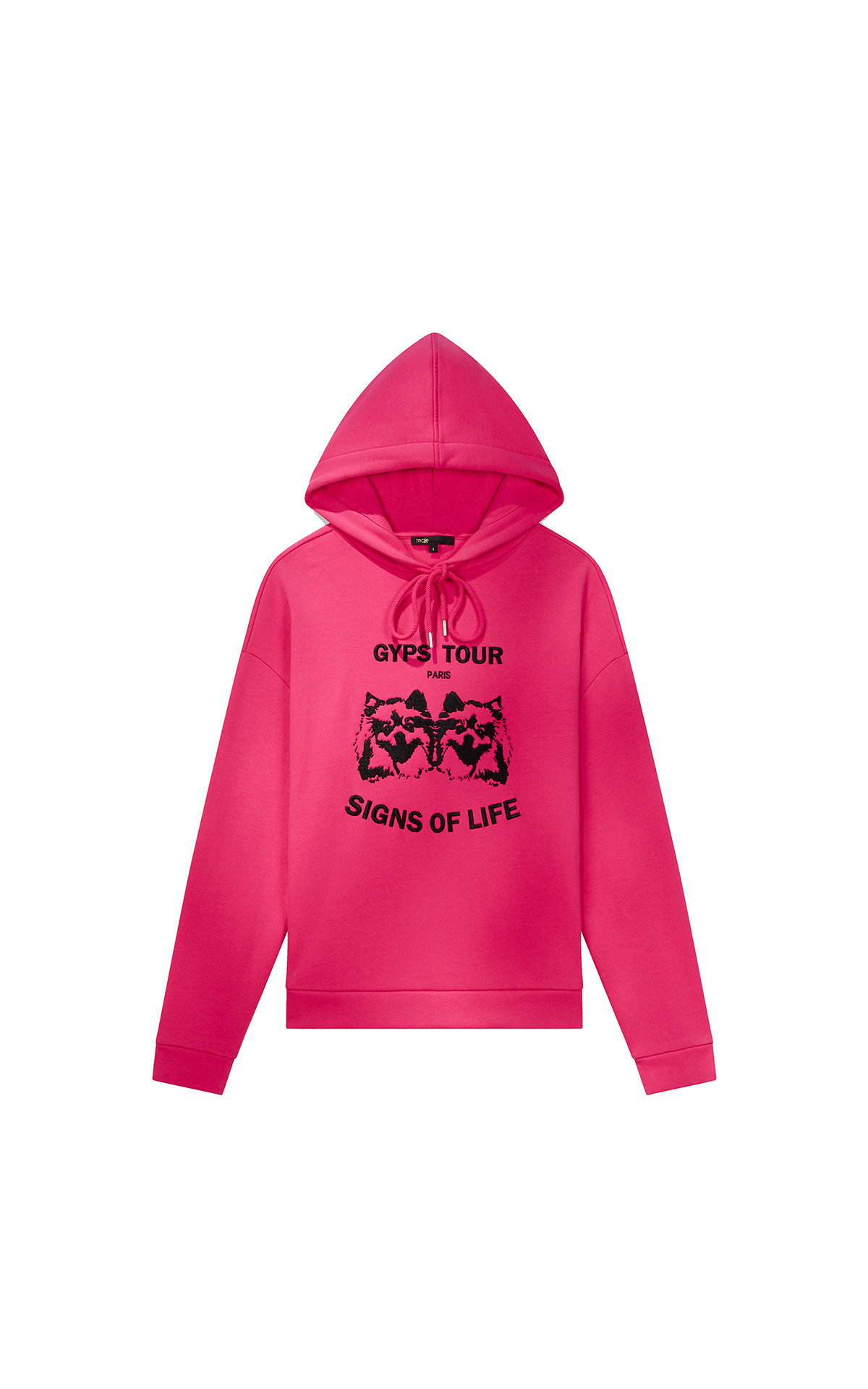 Maje Embroidered hooded sweatshirt in neon pink at The Bicester Village Shopping Collection