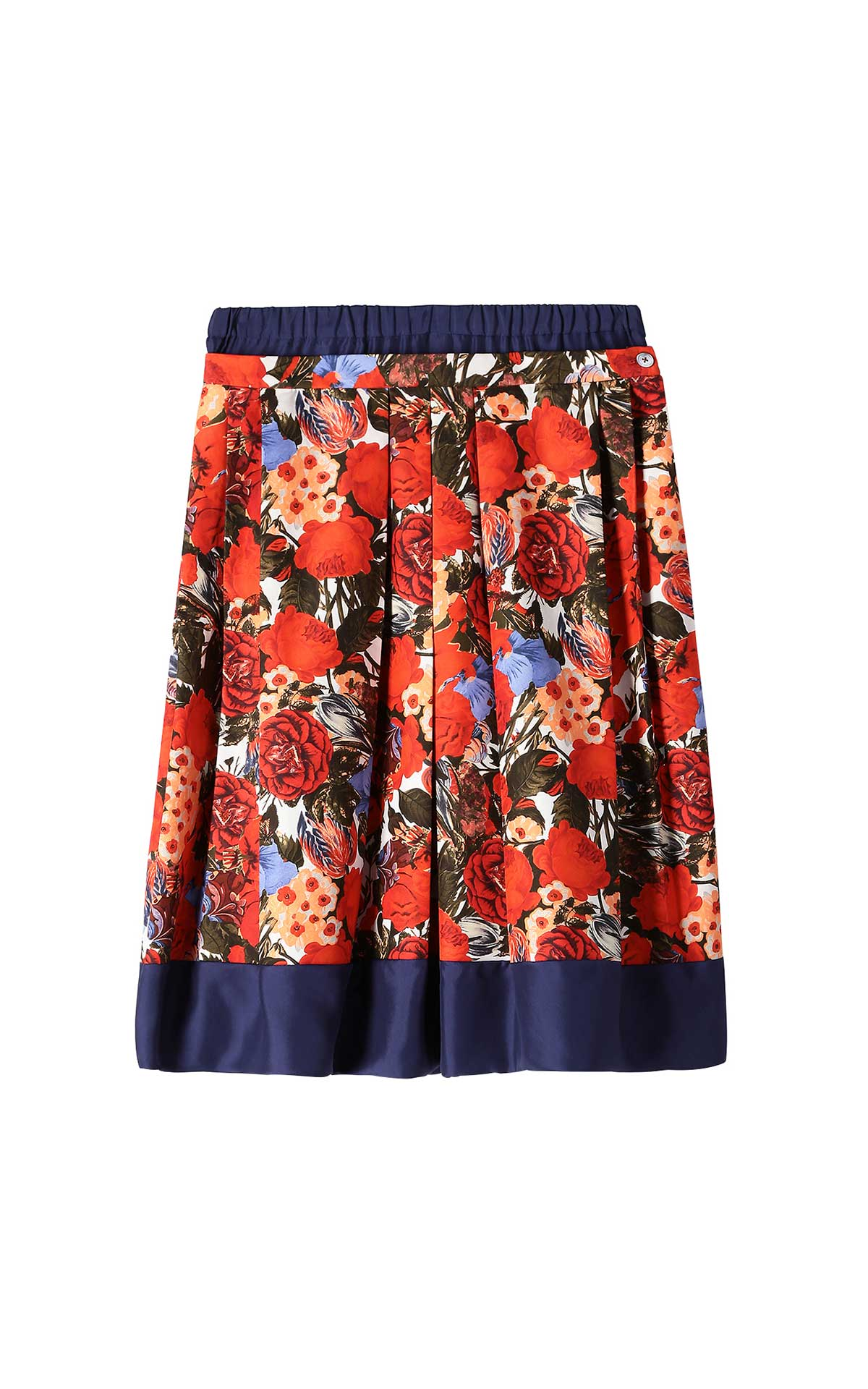 Red printed skirt with flowers for woman Marni
