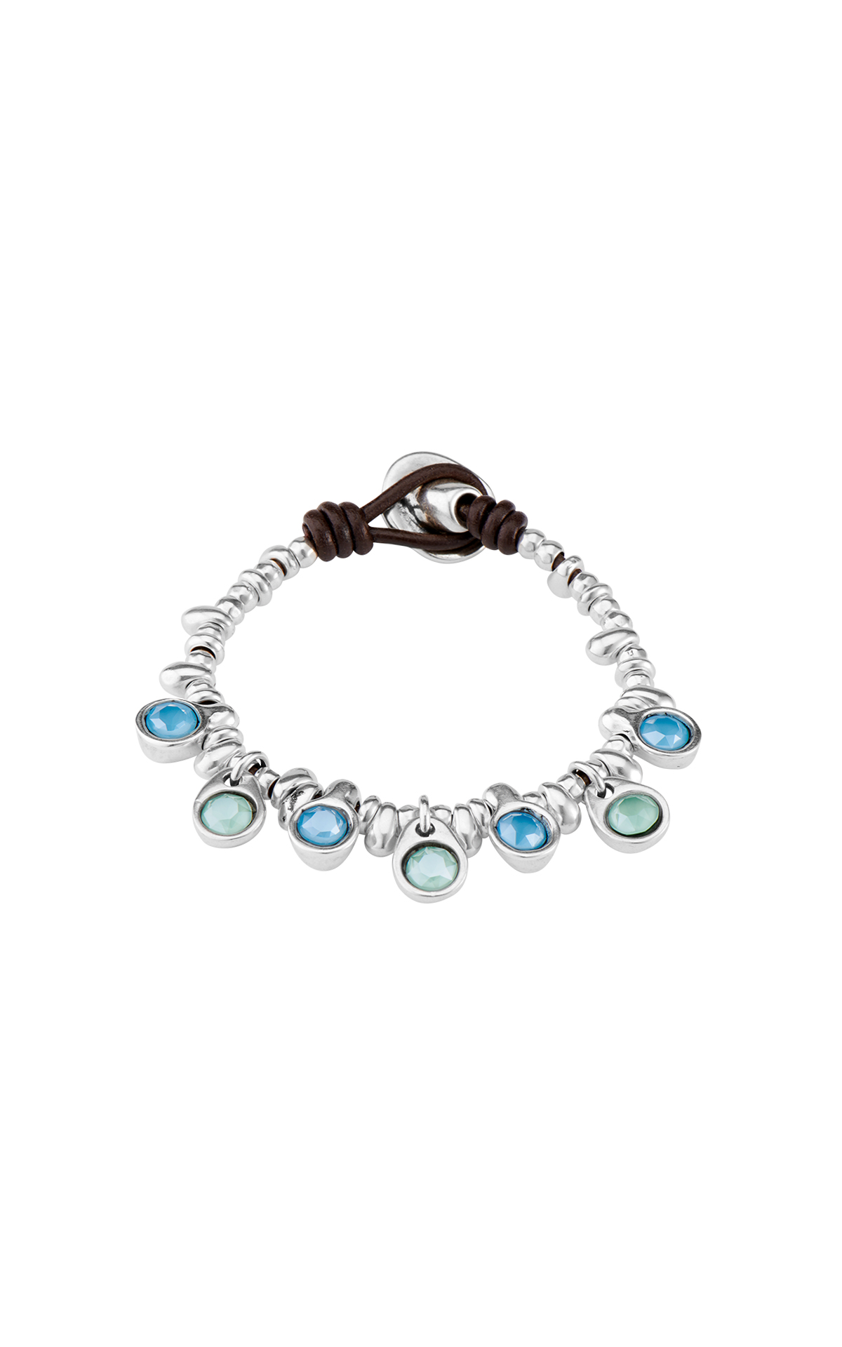 Silver bracelet with blue stones UNOde50