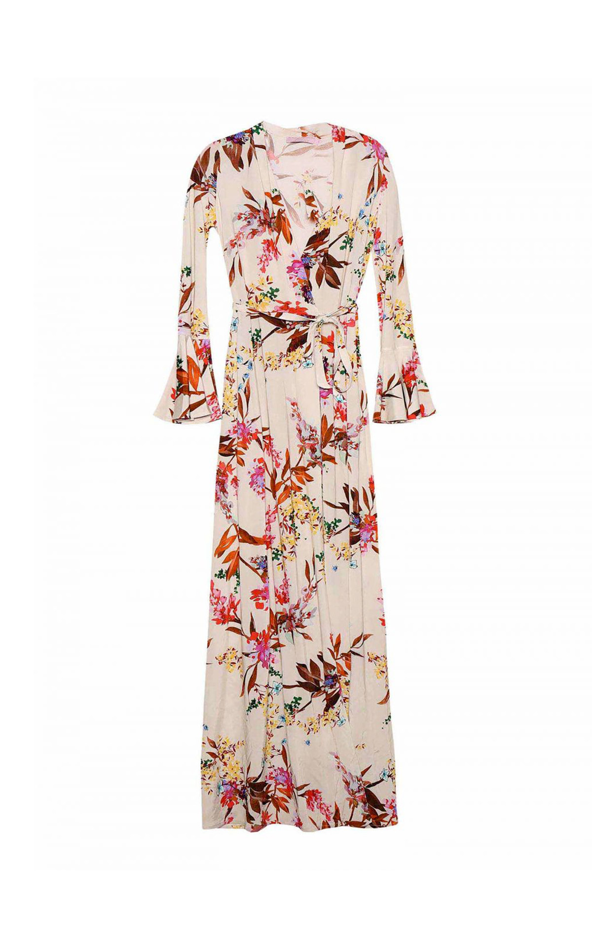 Beige flowered dress Dolores Promesas