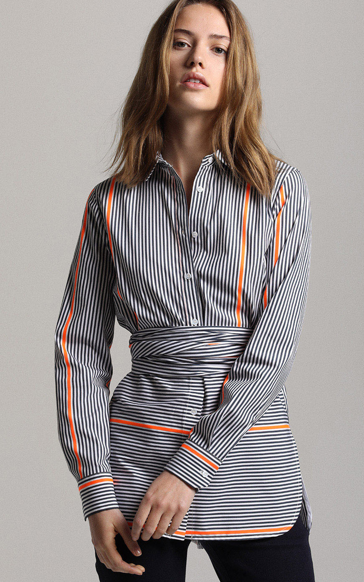 La Vallée Village Apostrophe striped shirt with belt