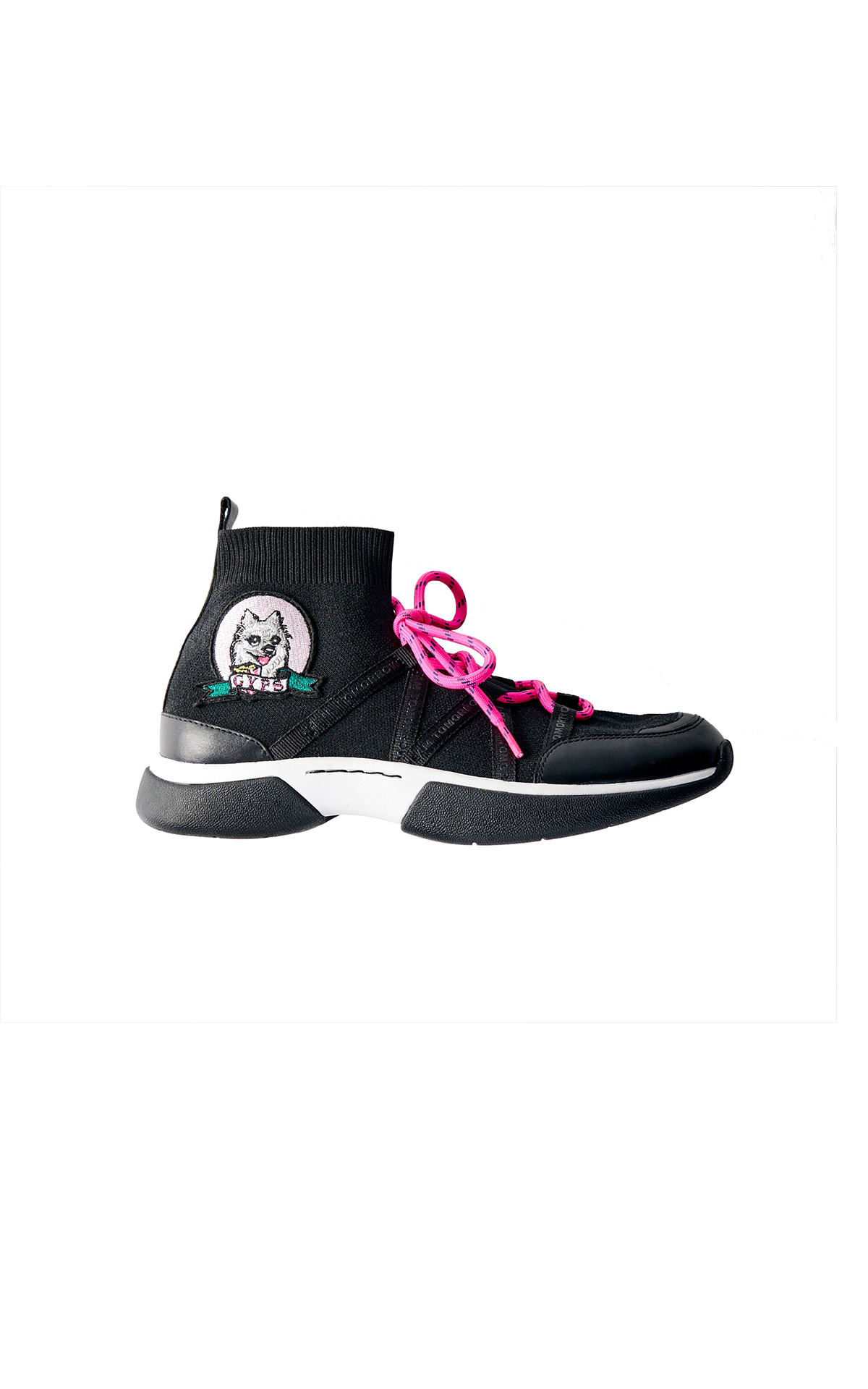Maje Gyps W21 high-top sneakers in Stretch mesh at The Bicester Village Shopping Collection
