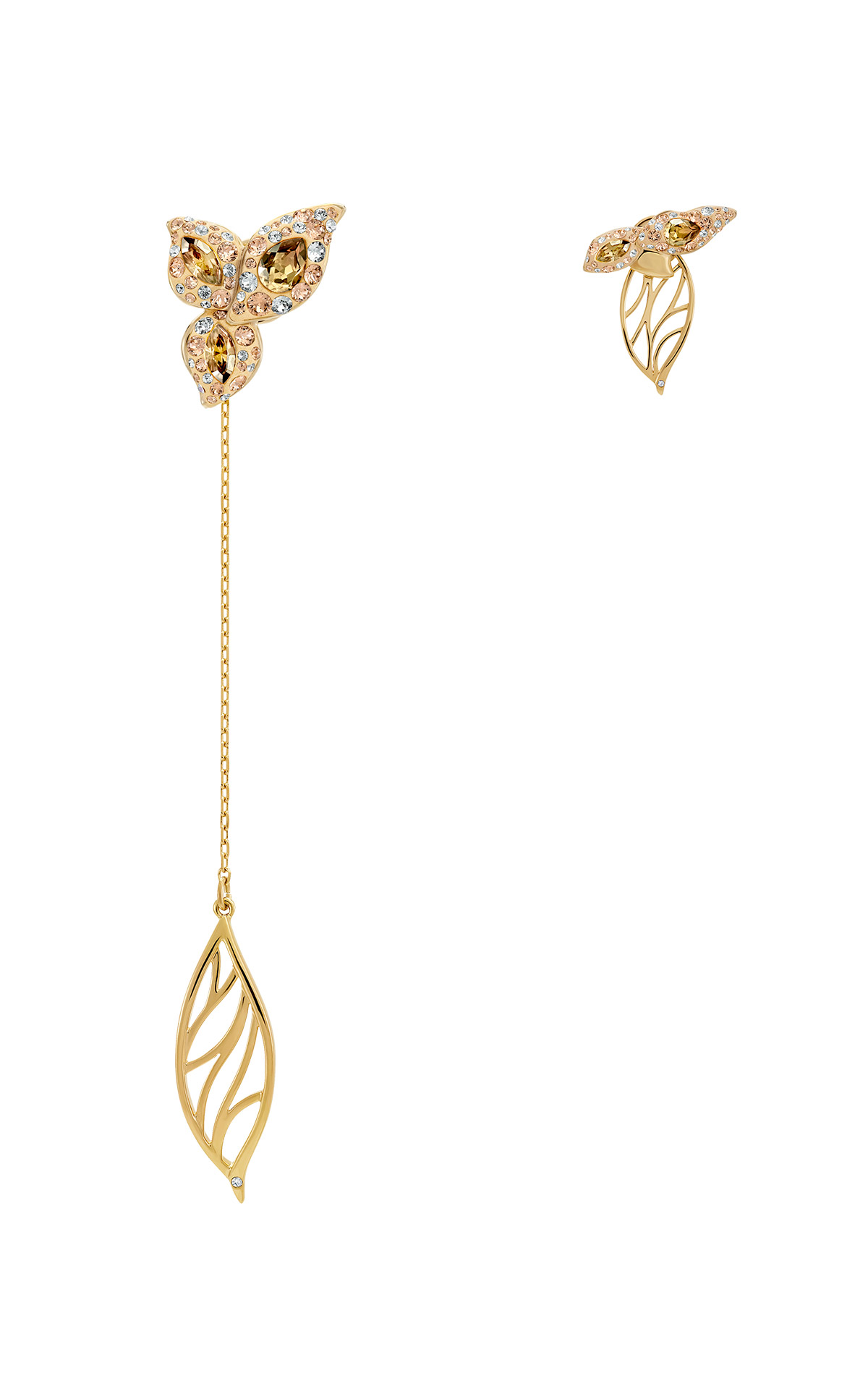 Asymmetric golden earrings Swarovski