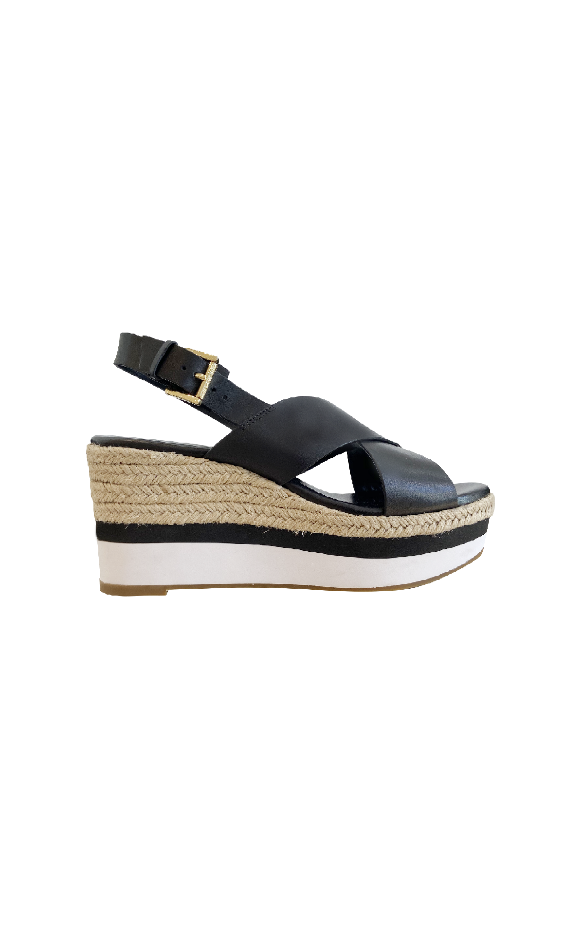Black platform sandal with esparto Michael Kors