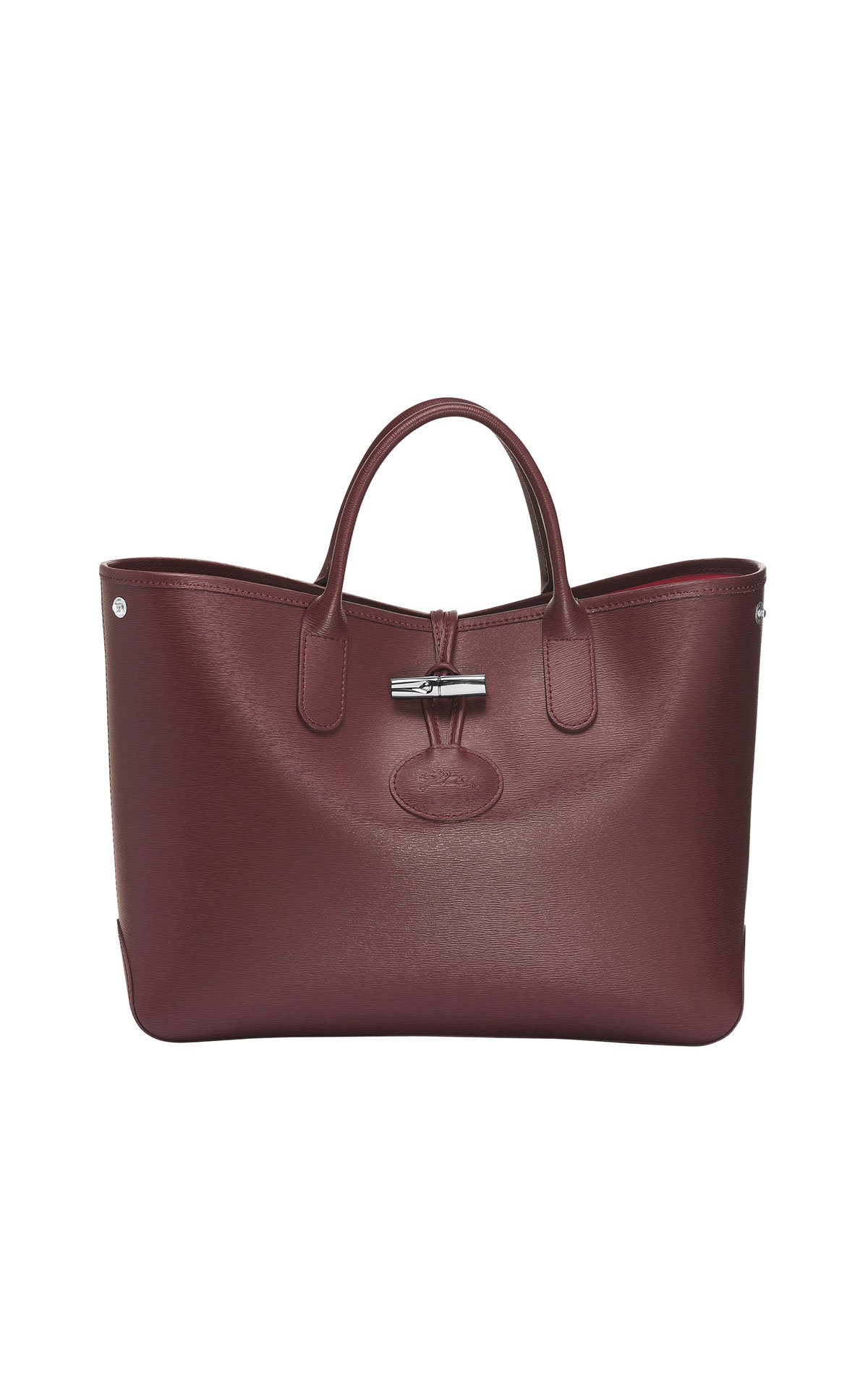 Longchamp Roseau short handle leather tote in brandy from Bicester Village