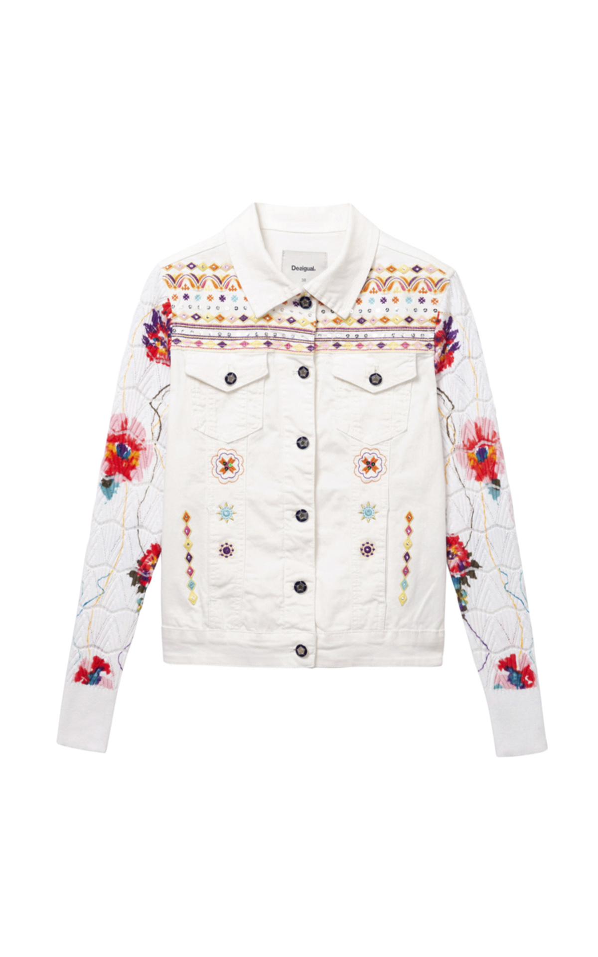 White women's denim jacket with flowers Desigual