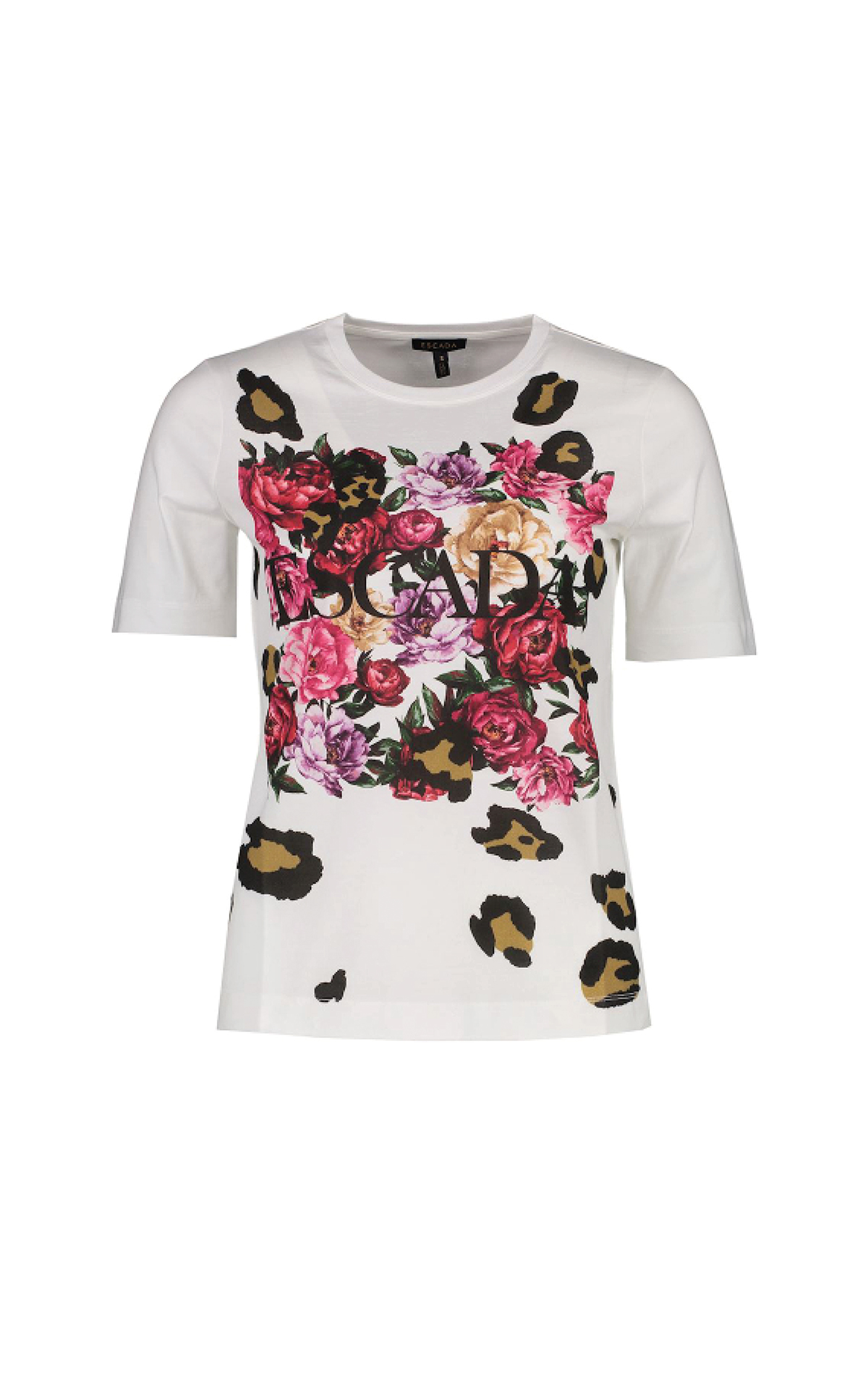 White T-shirt with flowers and logo Escada