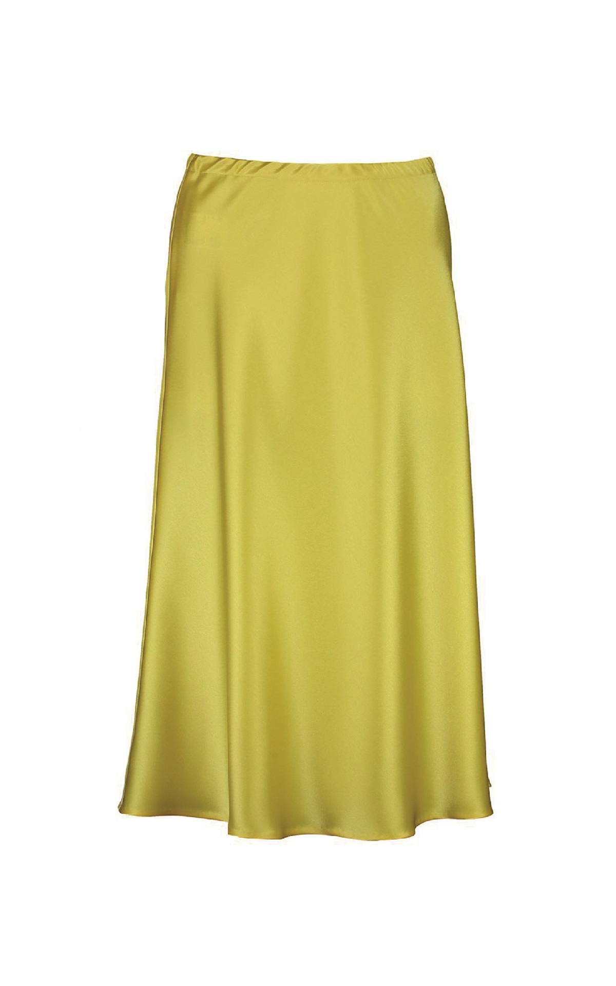 Yellow satin midi skirt Escada