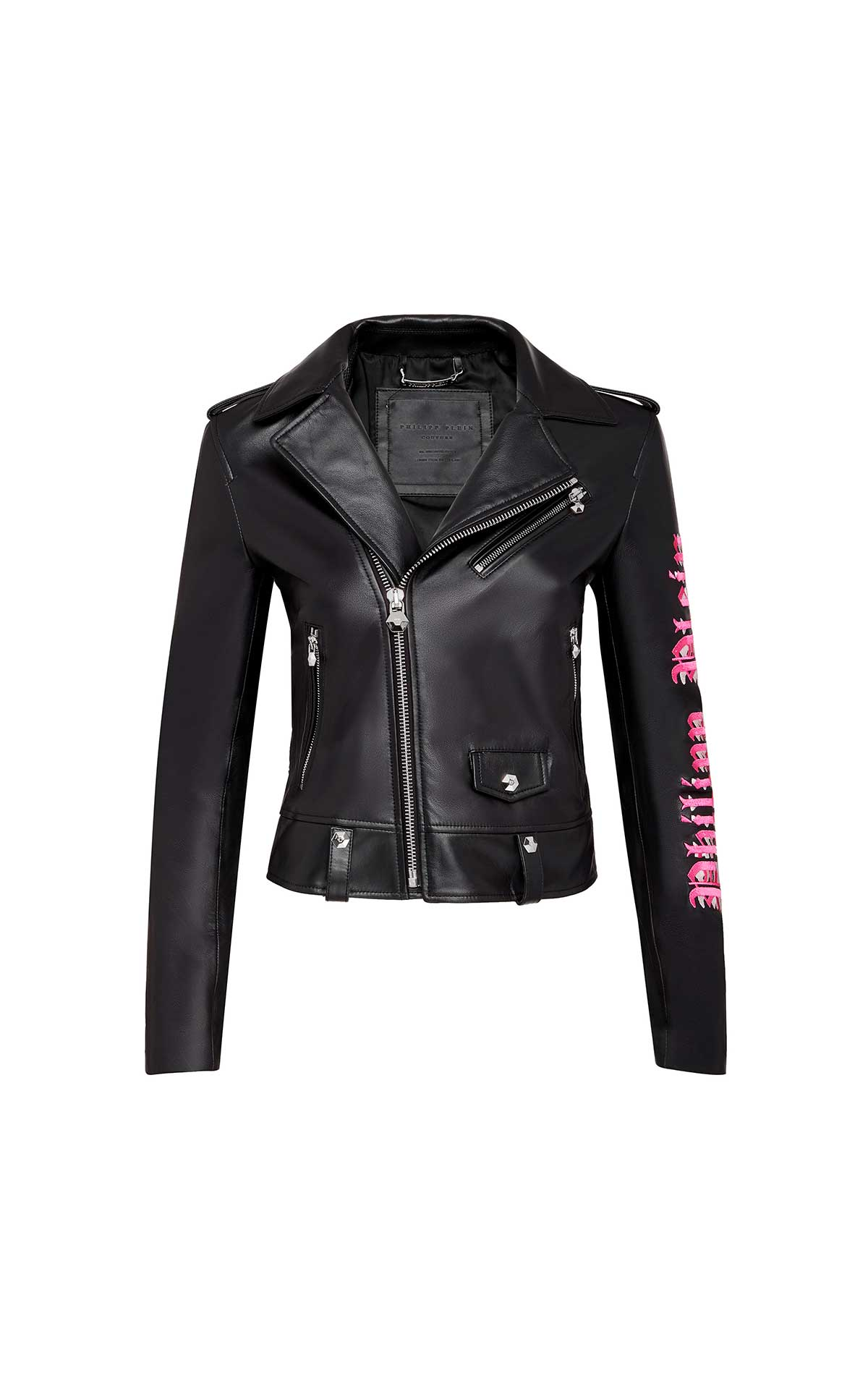 Black leather woman jacket Philipp Plein