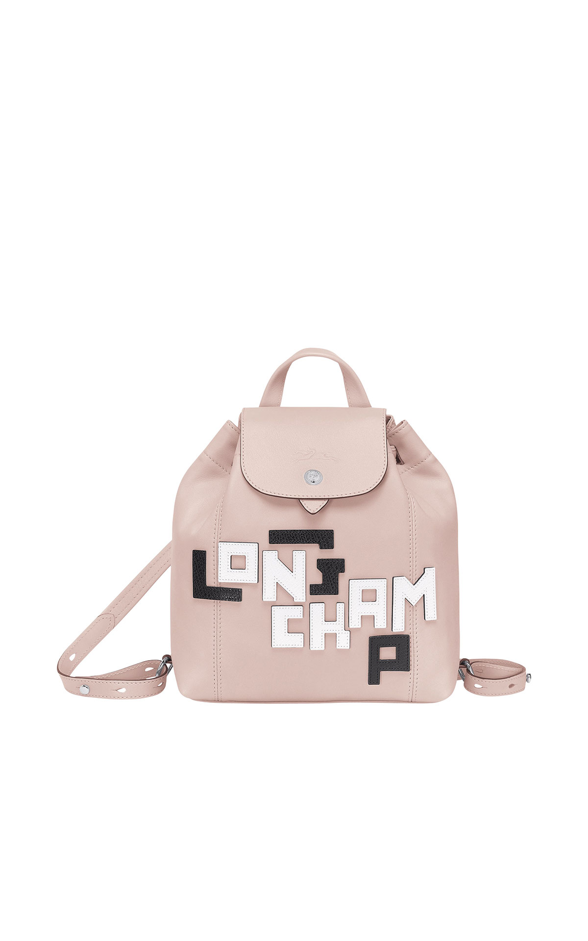 Longchamp Small leather Le Pliage backpack with leather top-stitched Longchamp logo from Bicester Village