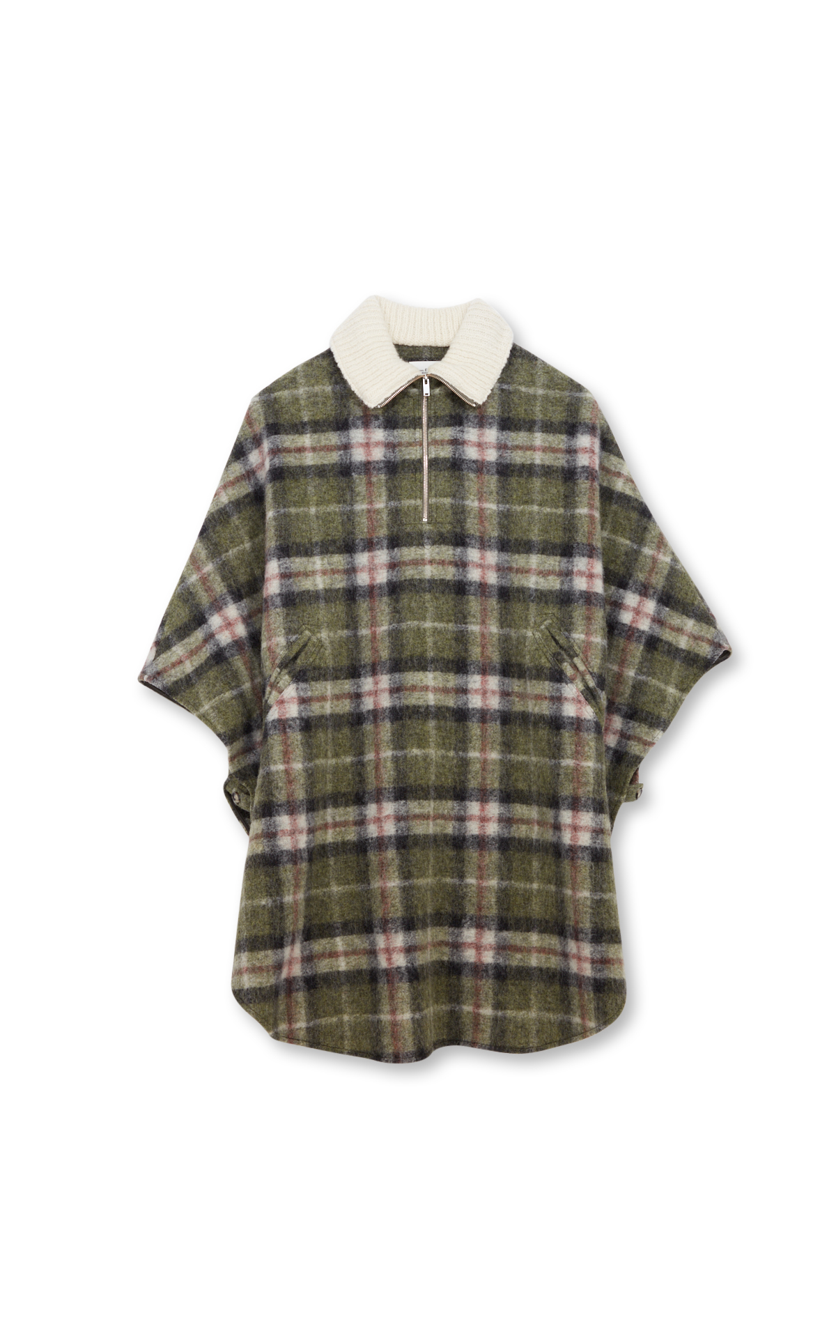 Isabel Marant Khaki plaid wool poncho