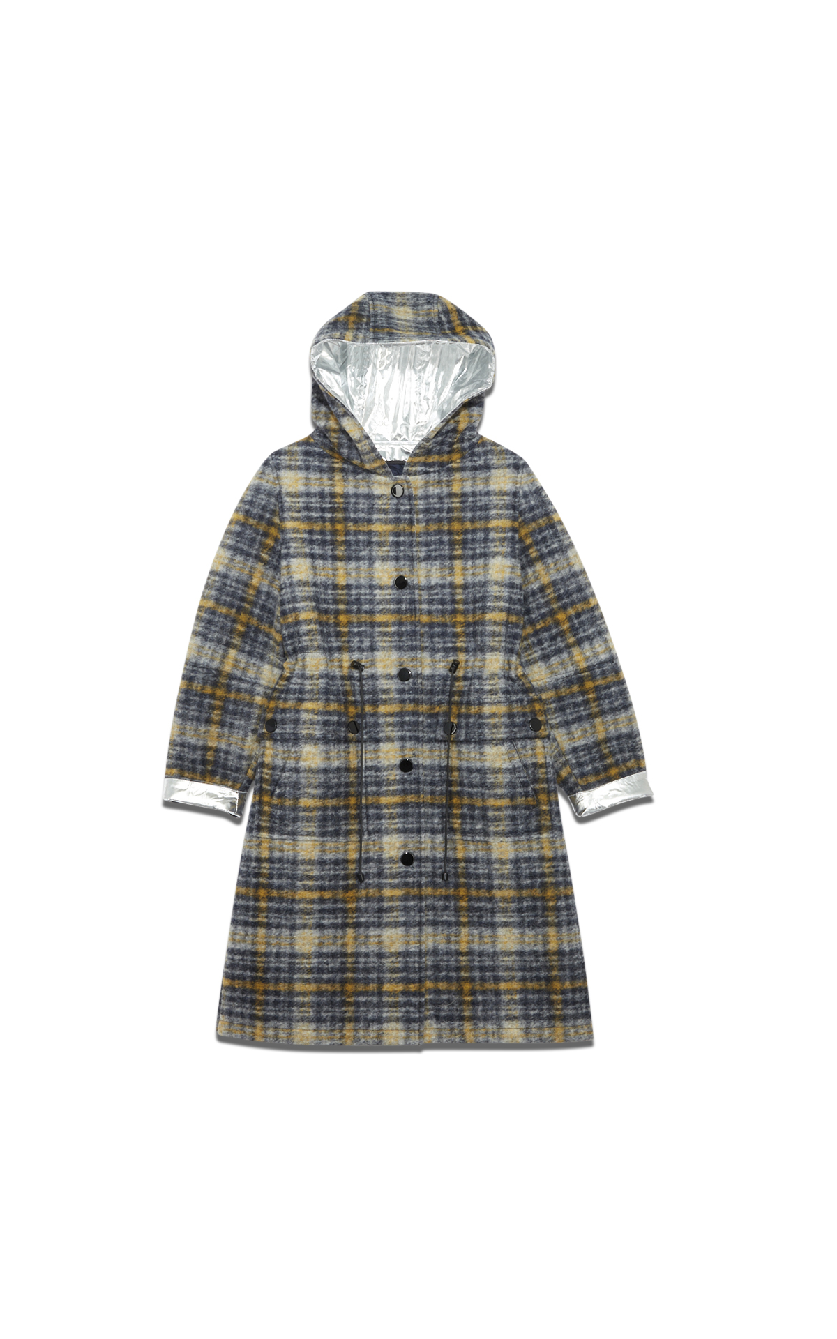 Yves Salomon Silver checked coat